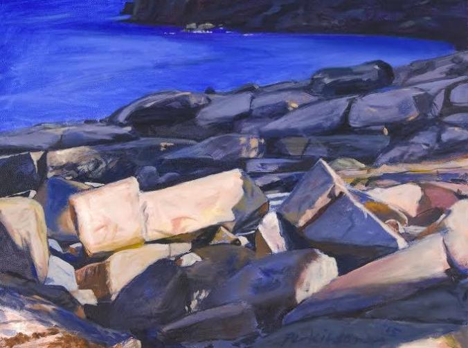 Roy Perkinson,  Rocks at Schoodic ,oil on canvas, 18 x 24