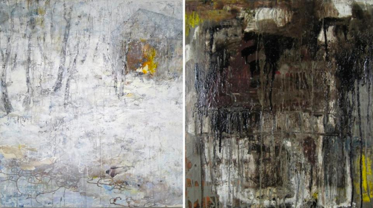 "Left, ""White Lights (Barn Series),"" by Brenda Cirioni, mixed media; right, ""Ayeka III,"" by Leslie Zelamsky, mixed media"