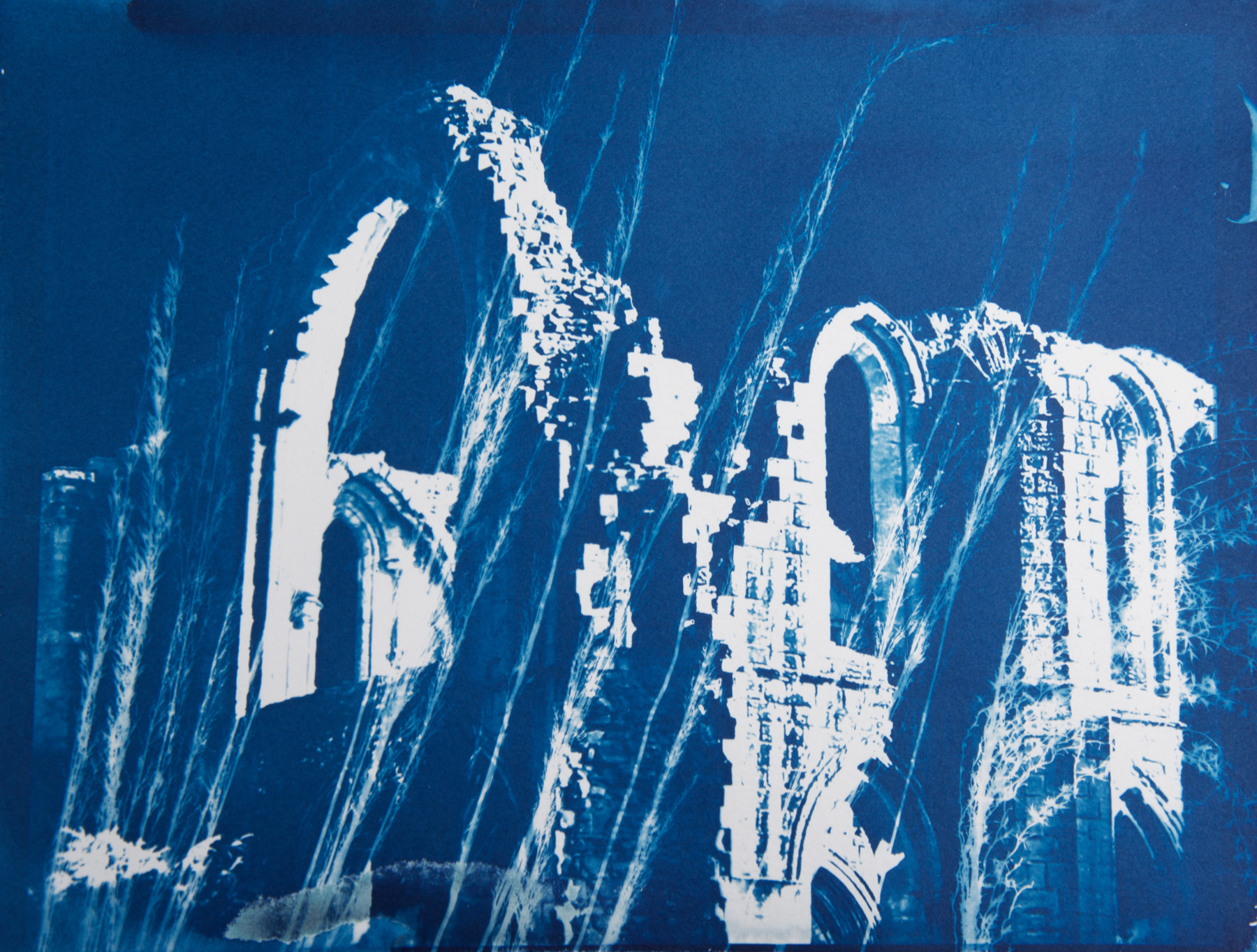 "Fountains Abbey 1 , cyanotype on paper, 9"" x 12"""