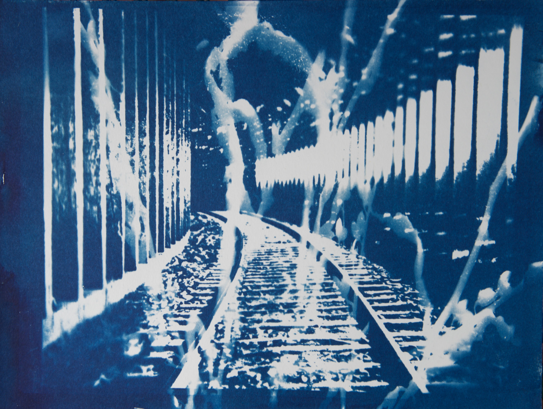"Railway Tunnel 1 , cyanotype on paper, 9"" x 12"""
