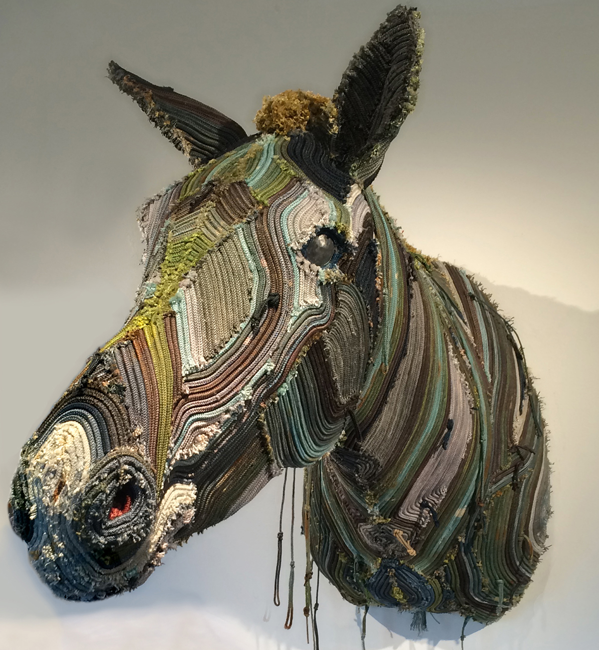 "Przewalski's East Ridge Horse , dyed longline fishing gear and mixed media, 39"" x 34"" x 16"""