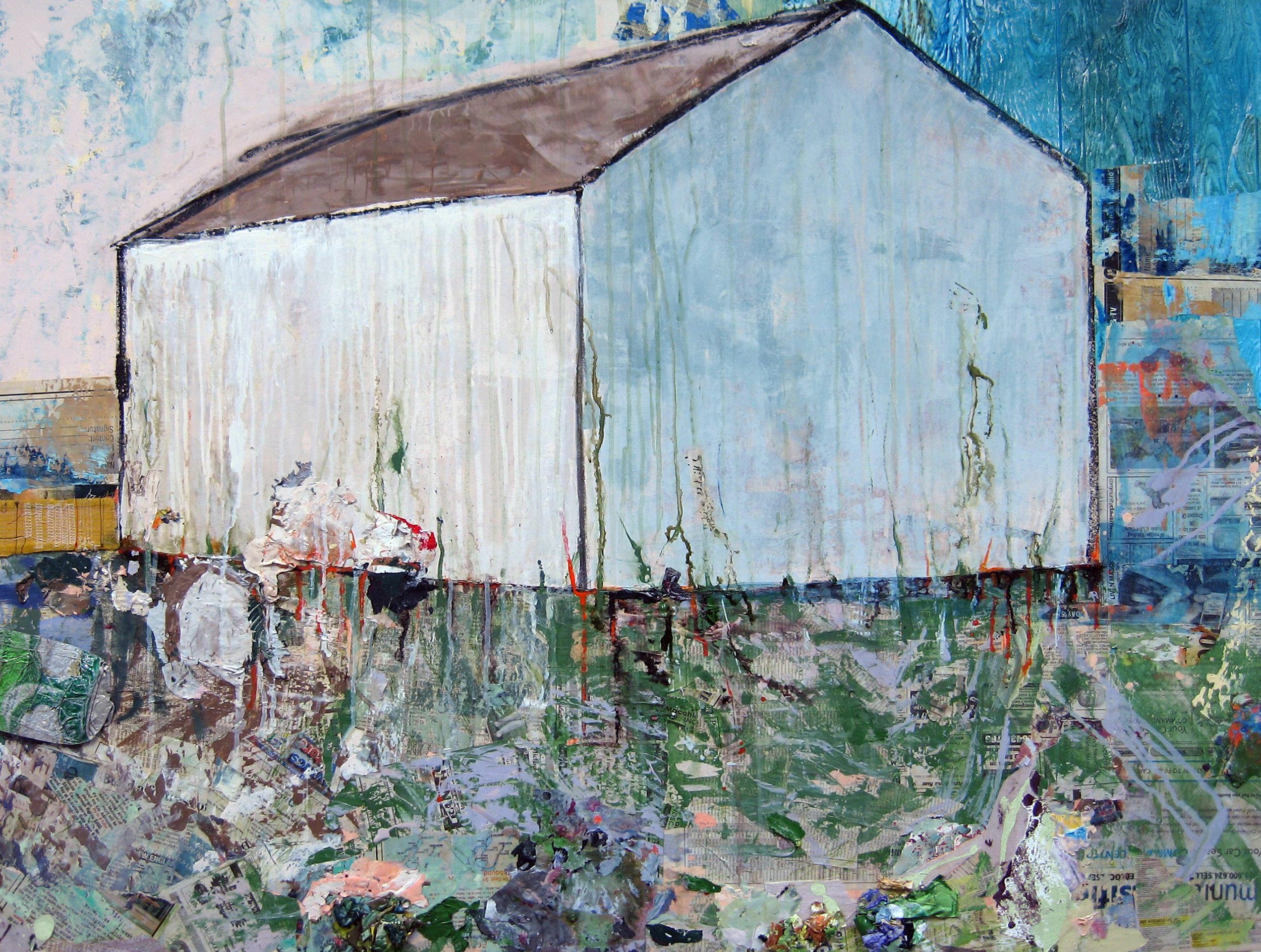 Brenda Cirioni,  Barn Series: Fortress, Mixed media painting, 36x48