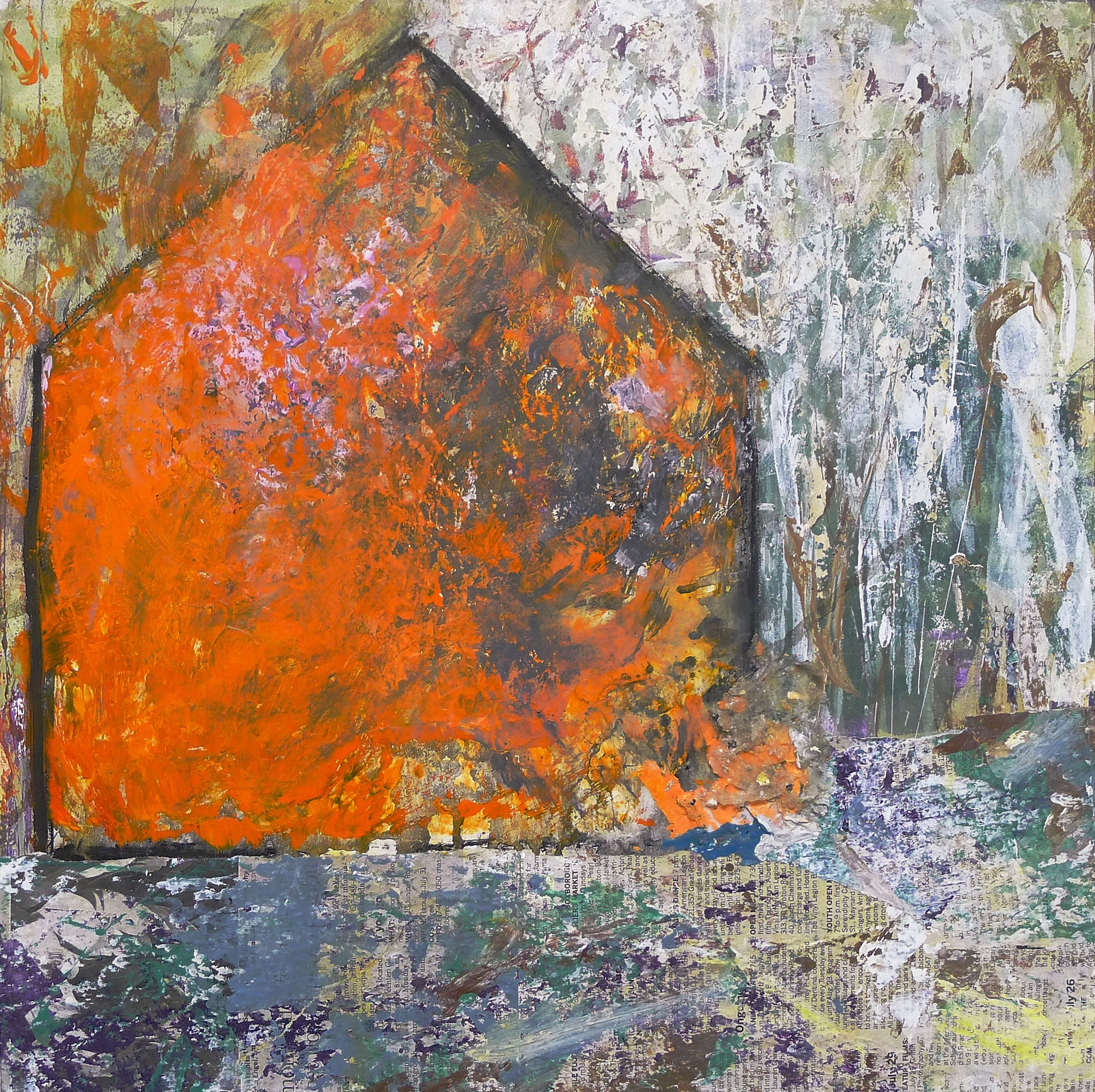 Brenda Cirioni,  Barn Series: Cover,  Mixed media painting, 20x20