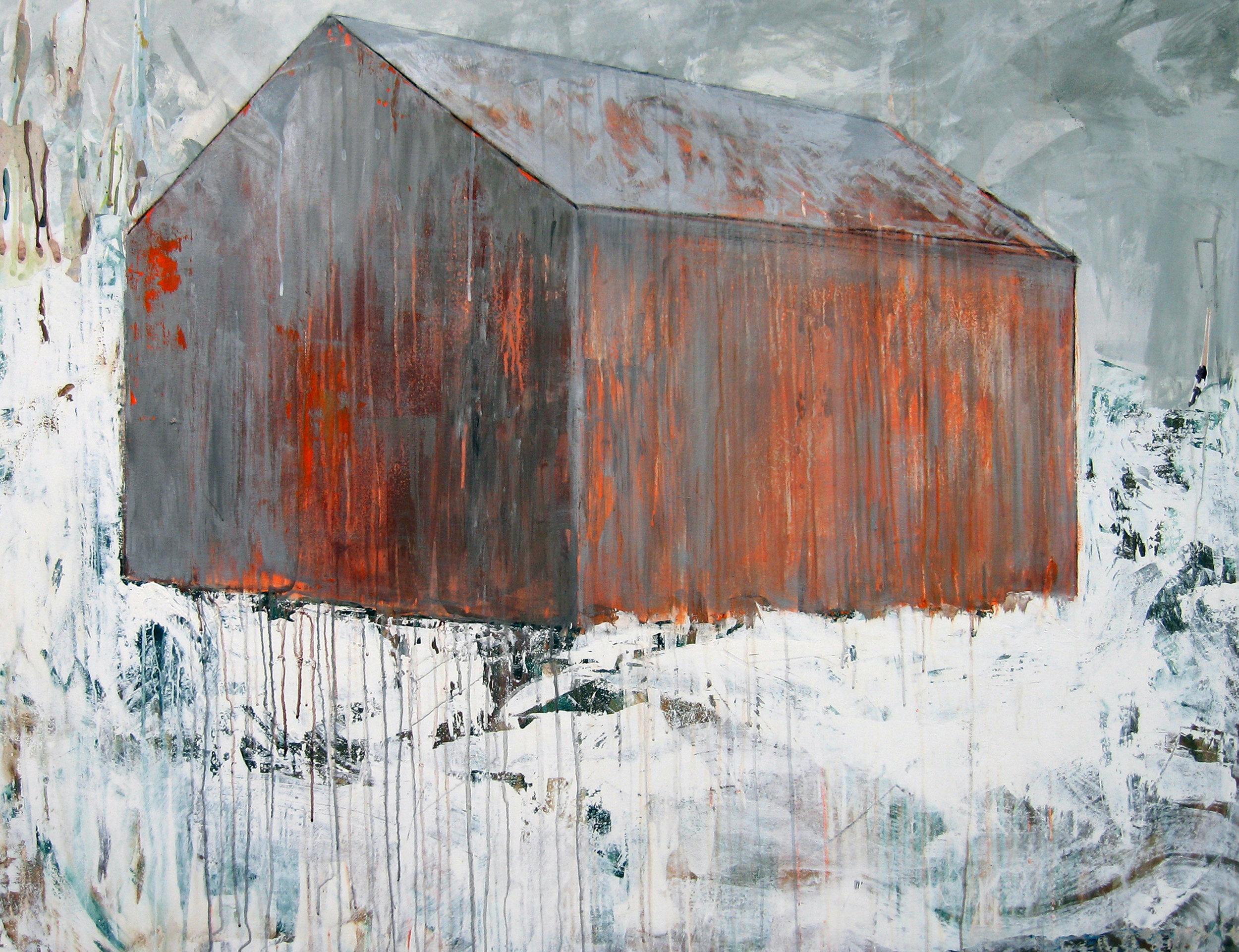 Brenda Cirioni,  Barn Series: Answer Note, Mixed media painting, 36x48
