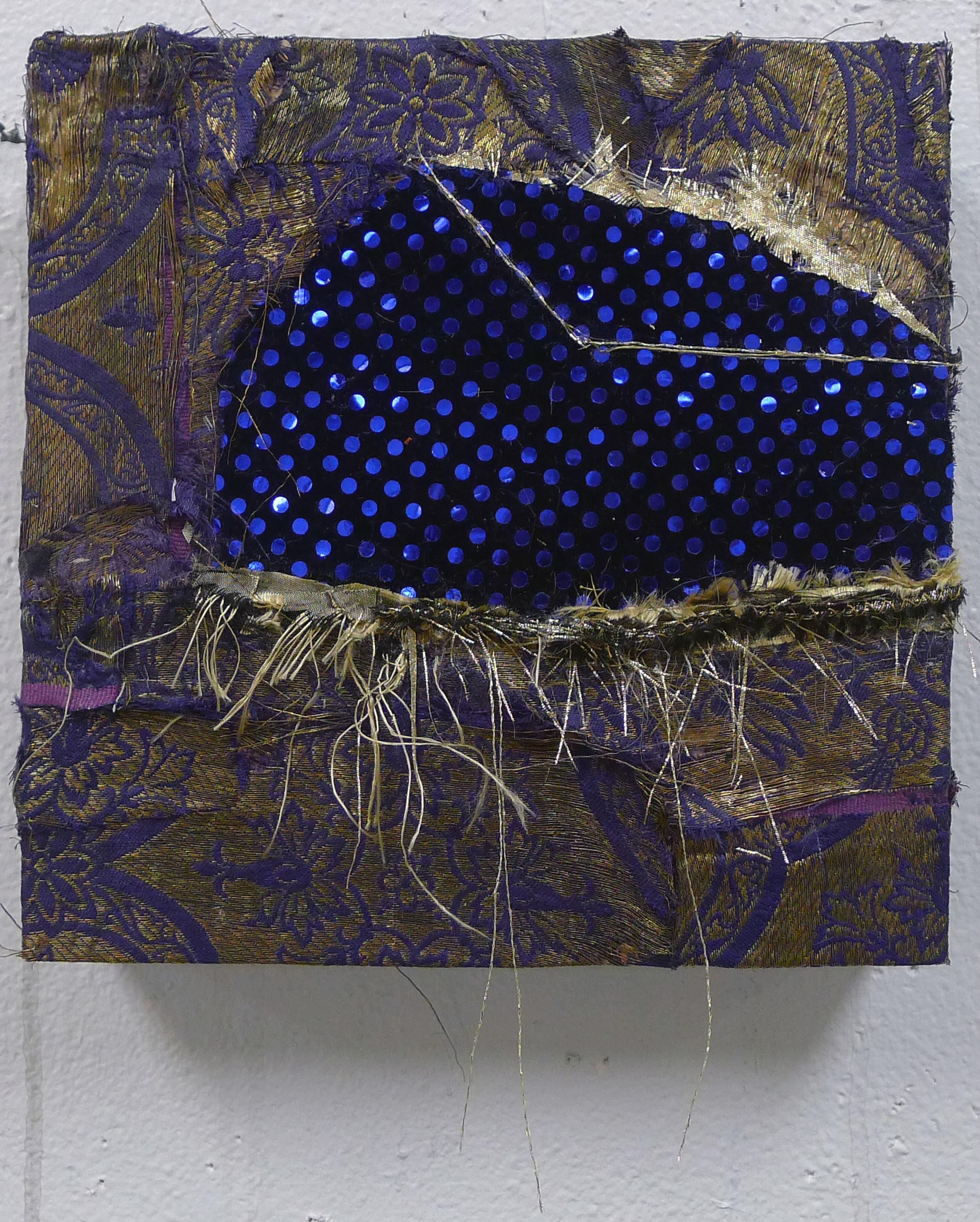 Brenda Cirioni,  Dream House: Midnight, Fabric and sequins, 8x8