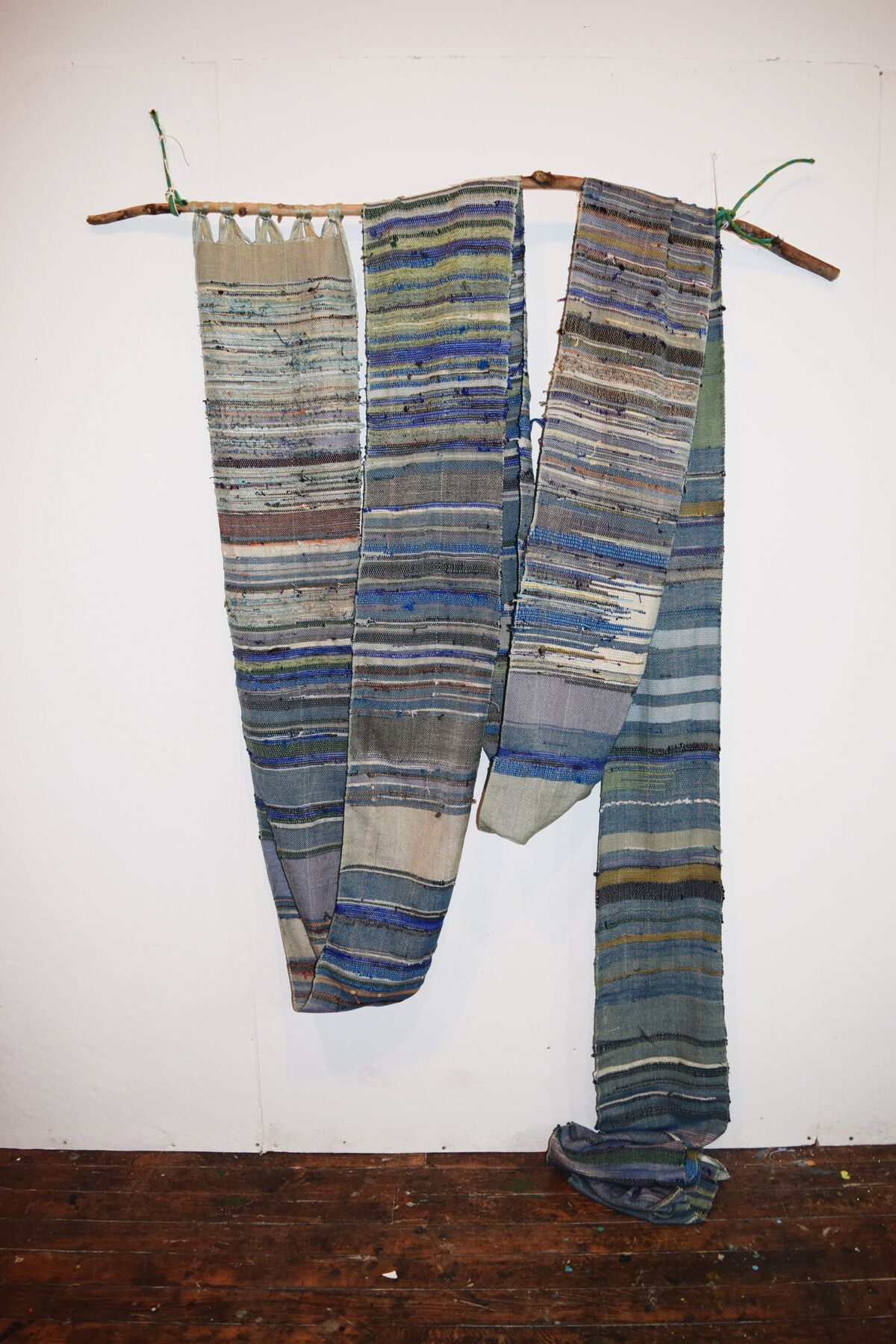 Stacey Piwinski,  What Once Was , handwoven fabric and found objects, 78 x 58 x 4, $3,500