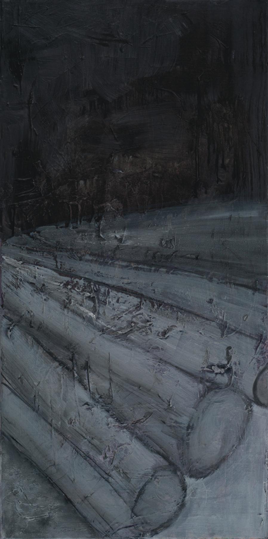 Karen Rothman, Degradation , oil on canvas,18 x 36, NFS