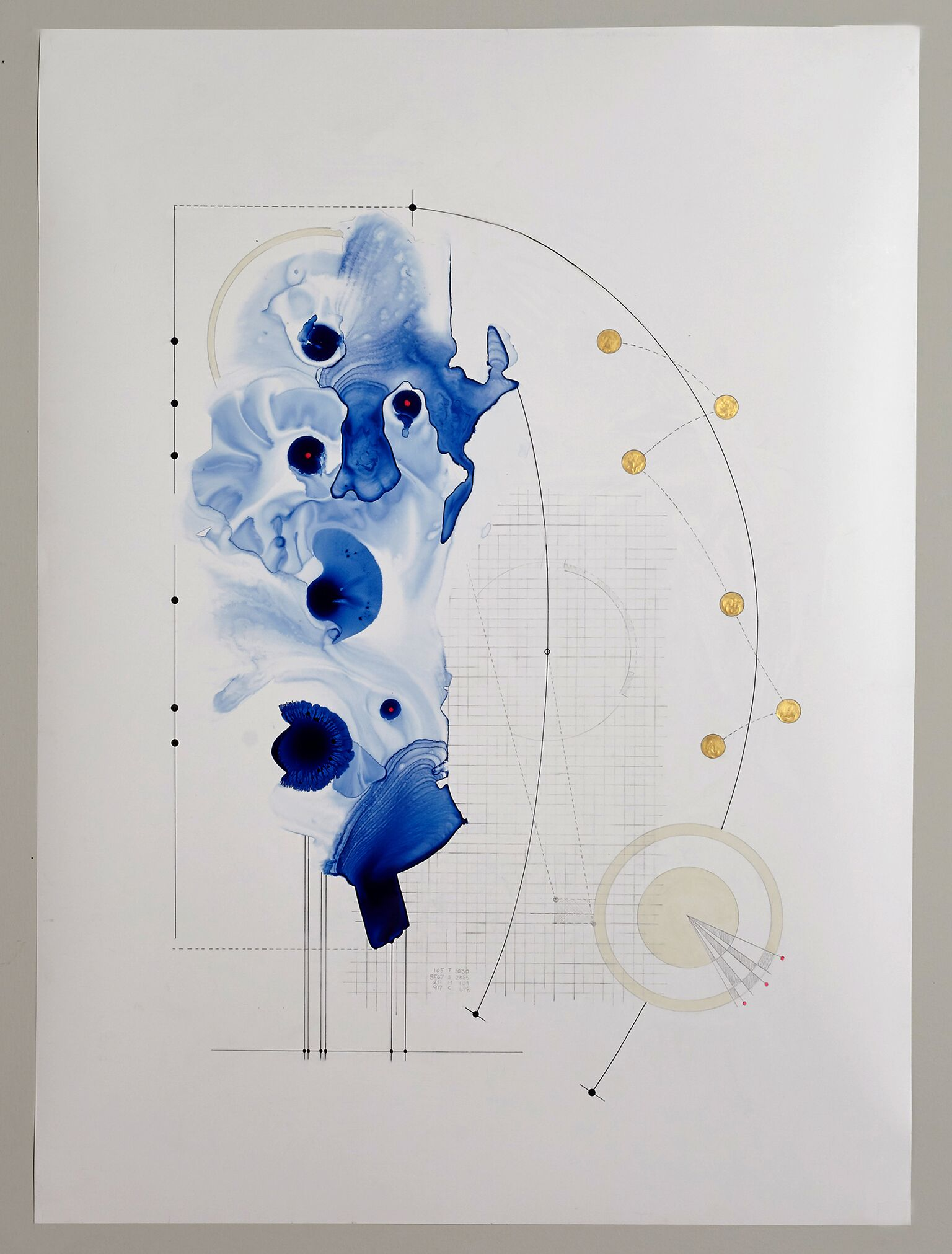 Carrie Crane,  Dispersion Analysis 0 , acrylic ink and graphite on Yupo, 22 x 30, $900