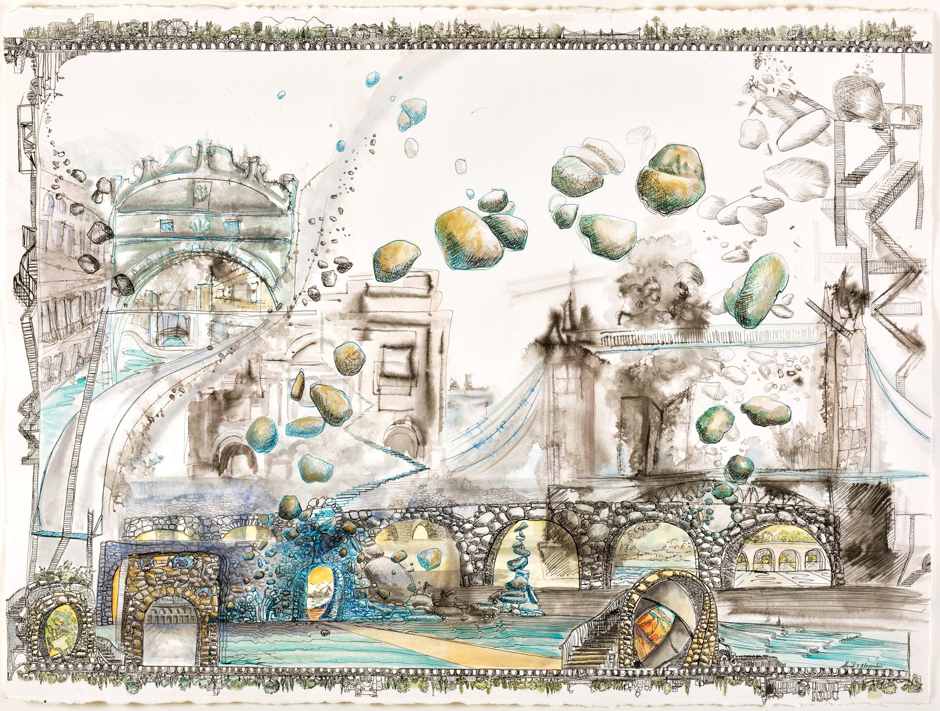 "Sarah Alexander,  Pandemonium , pen,ink and watercolor on paper, 22"" x 30"""