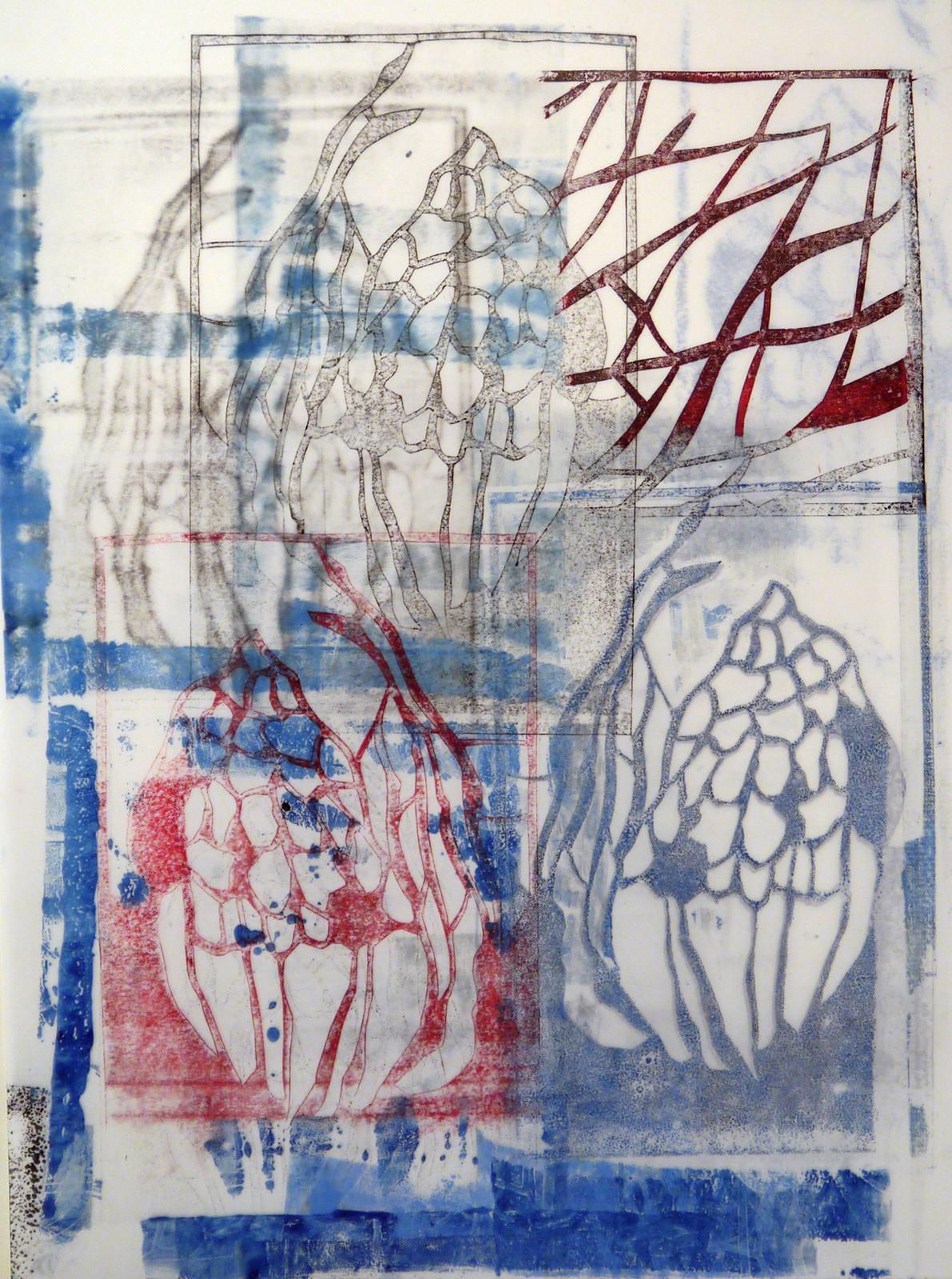 """Kathline Carr,  Reiterant , monotype on yupo, 15"""" x 11"""""""