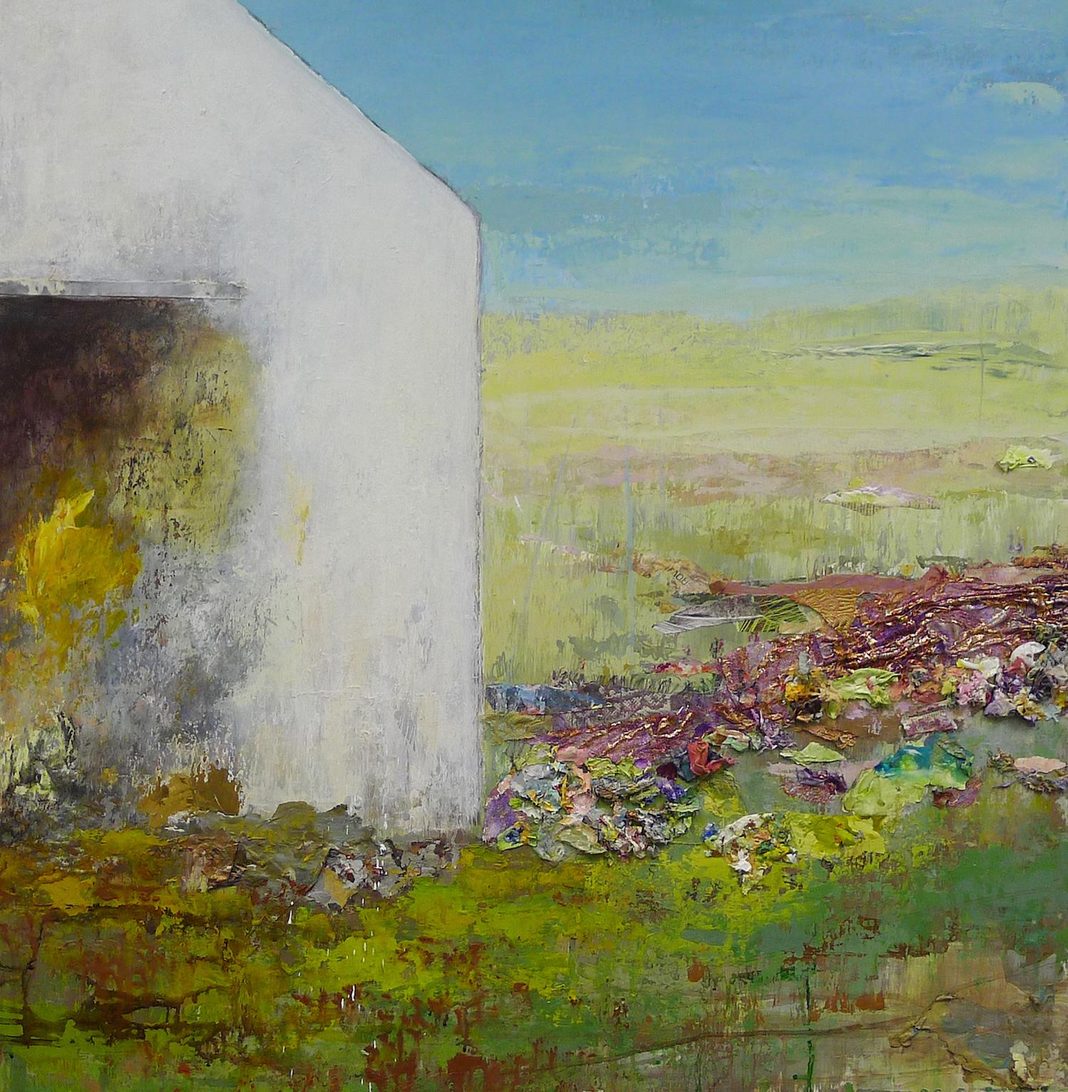 "Brenda Cirioni,  GROW!, mixed-media painting, 36"" x 36"""