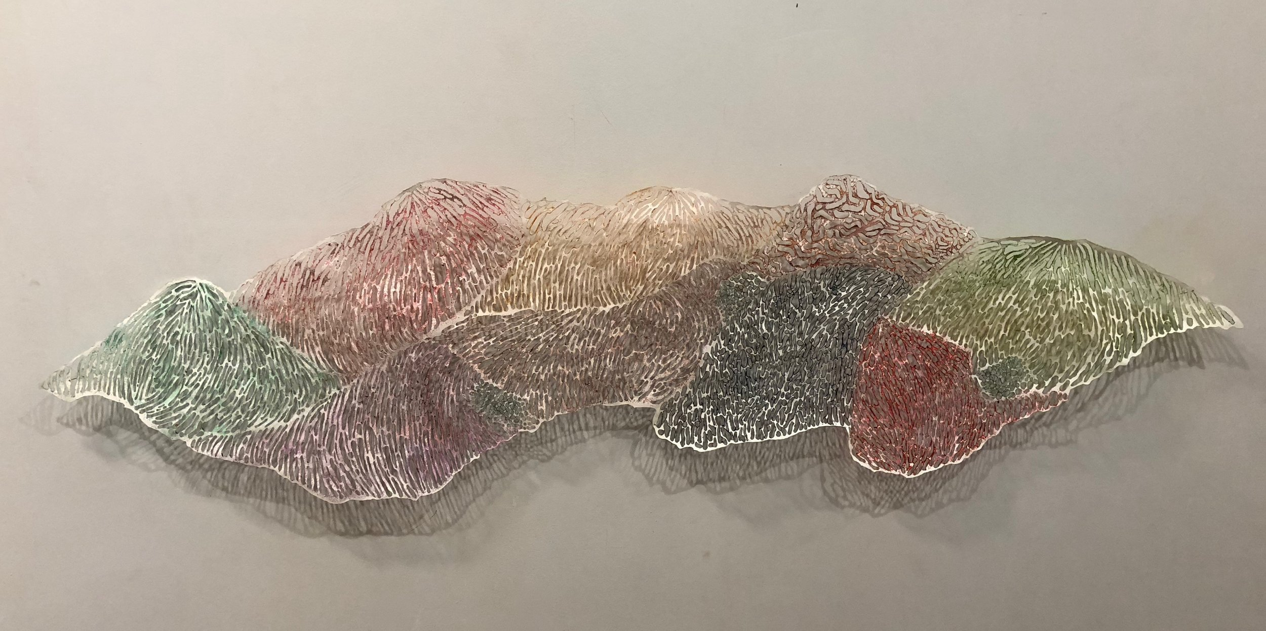 """Susan Greer Emmerson,  Cropland , acrylic on cut tyvek and pins, 52"""" x 14"""""""