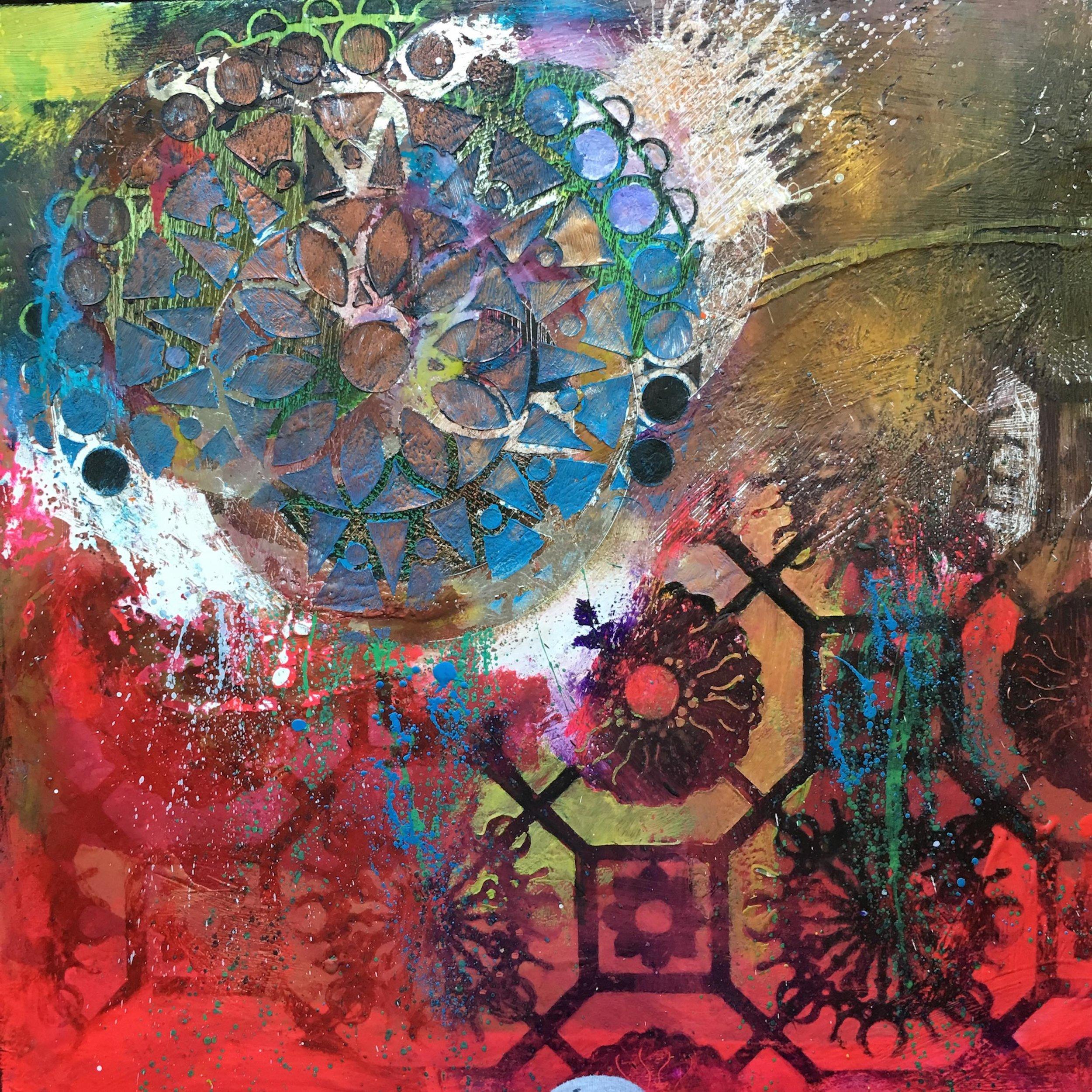 """Mary Marley,  Mixedbag , encaustic painting, 18"""" x 18"""""""