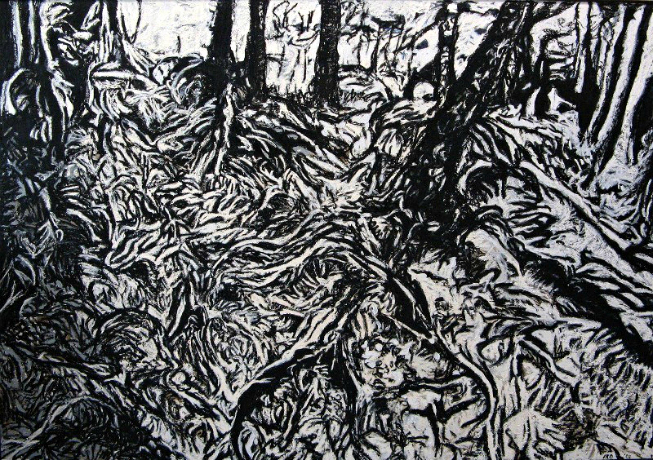 "Iris Osterman,  Growth , oil/oil stick on canvas, 50"" x 72"""
