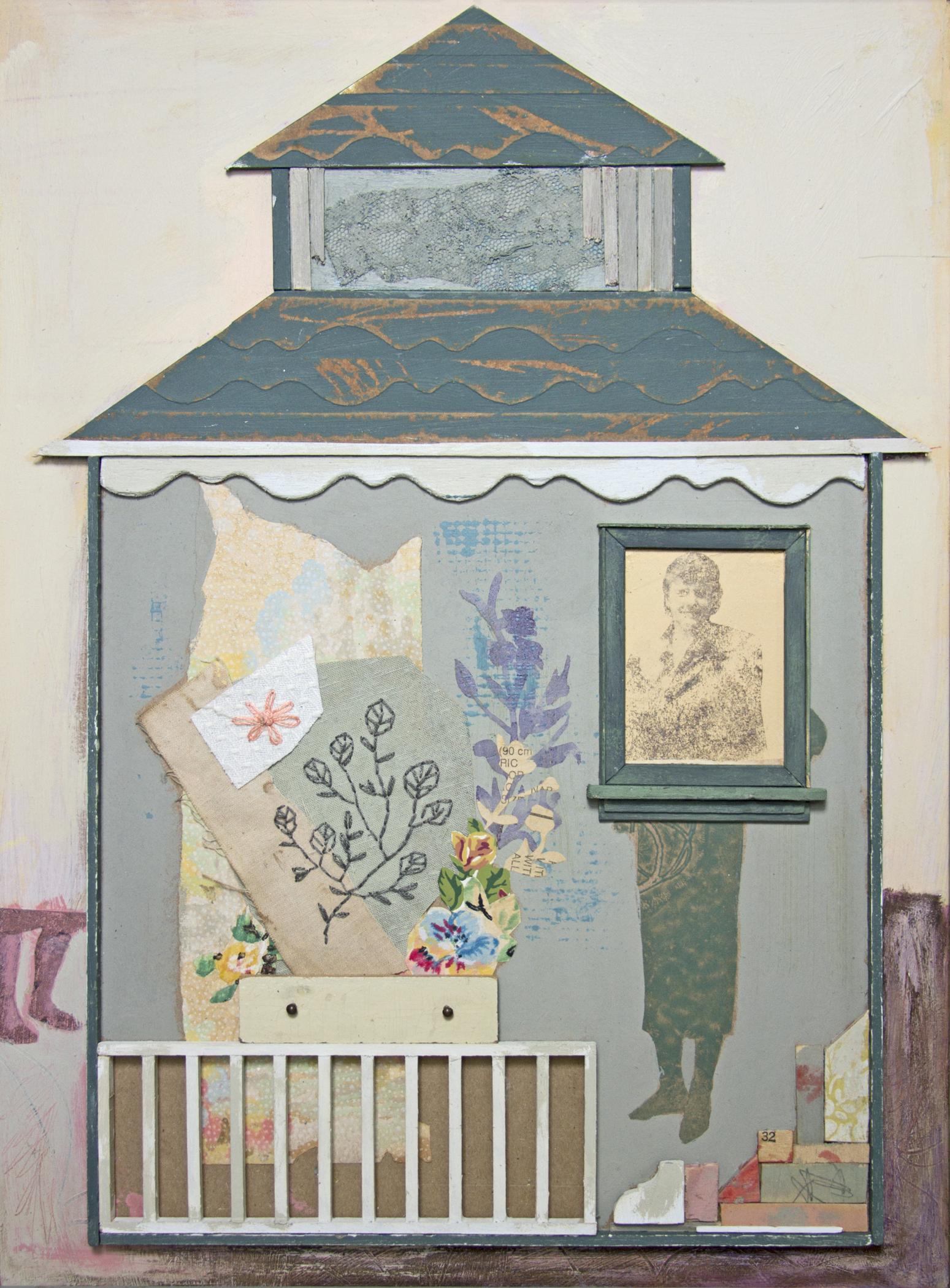 """Chelsea Revelle,  Mrs. Davis , fabric, inkjet dye and embroidery floss, 17"""" x 13"""""""