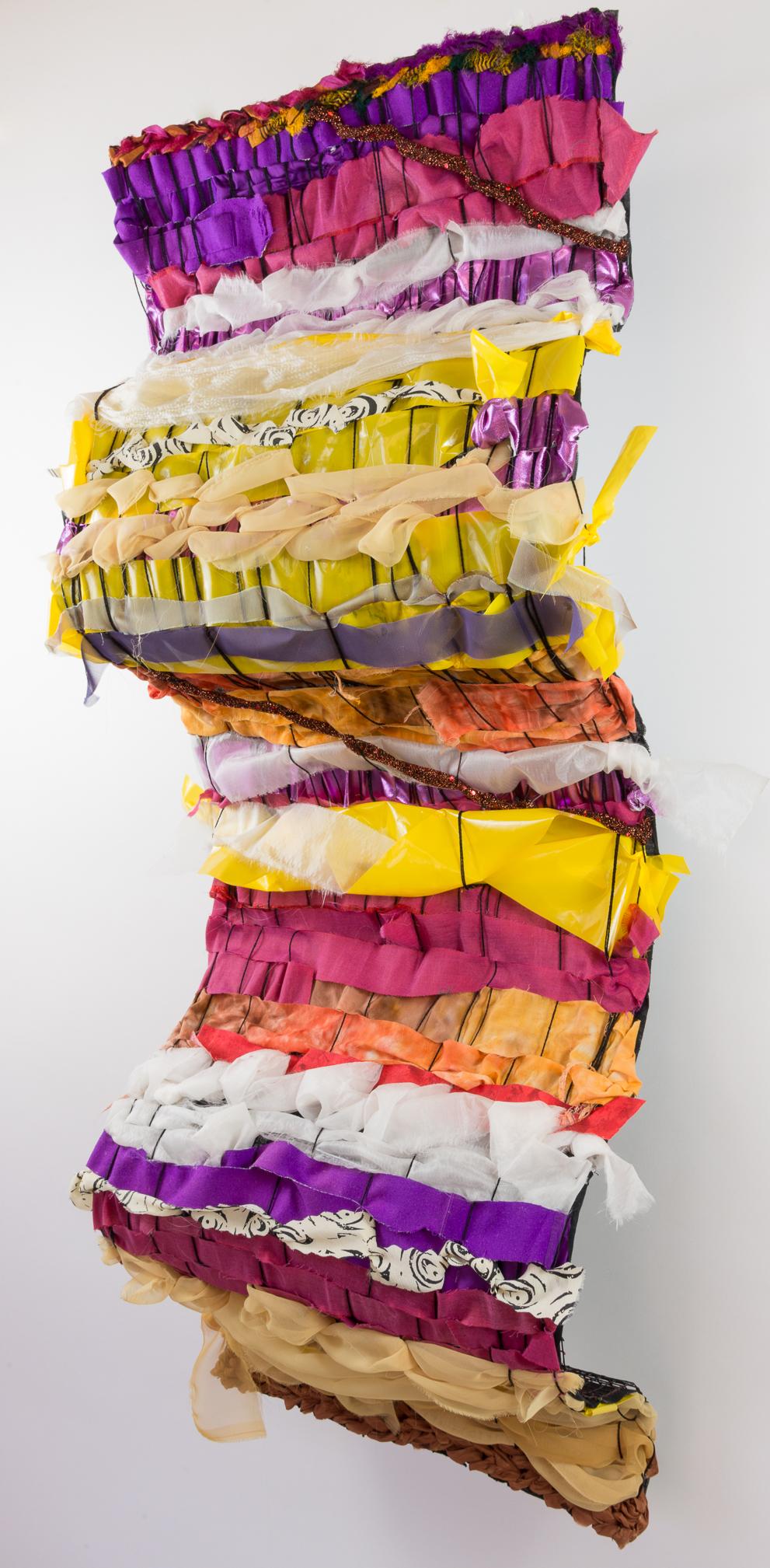 "Sylvia Vander Sluis,  Exuberance , handwoven fabric over wire mesh armature, 48"" x 20"" x 10"""