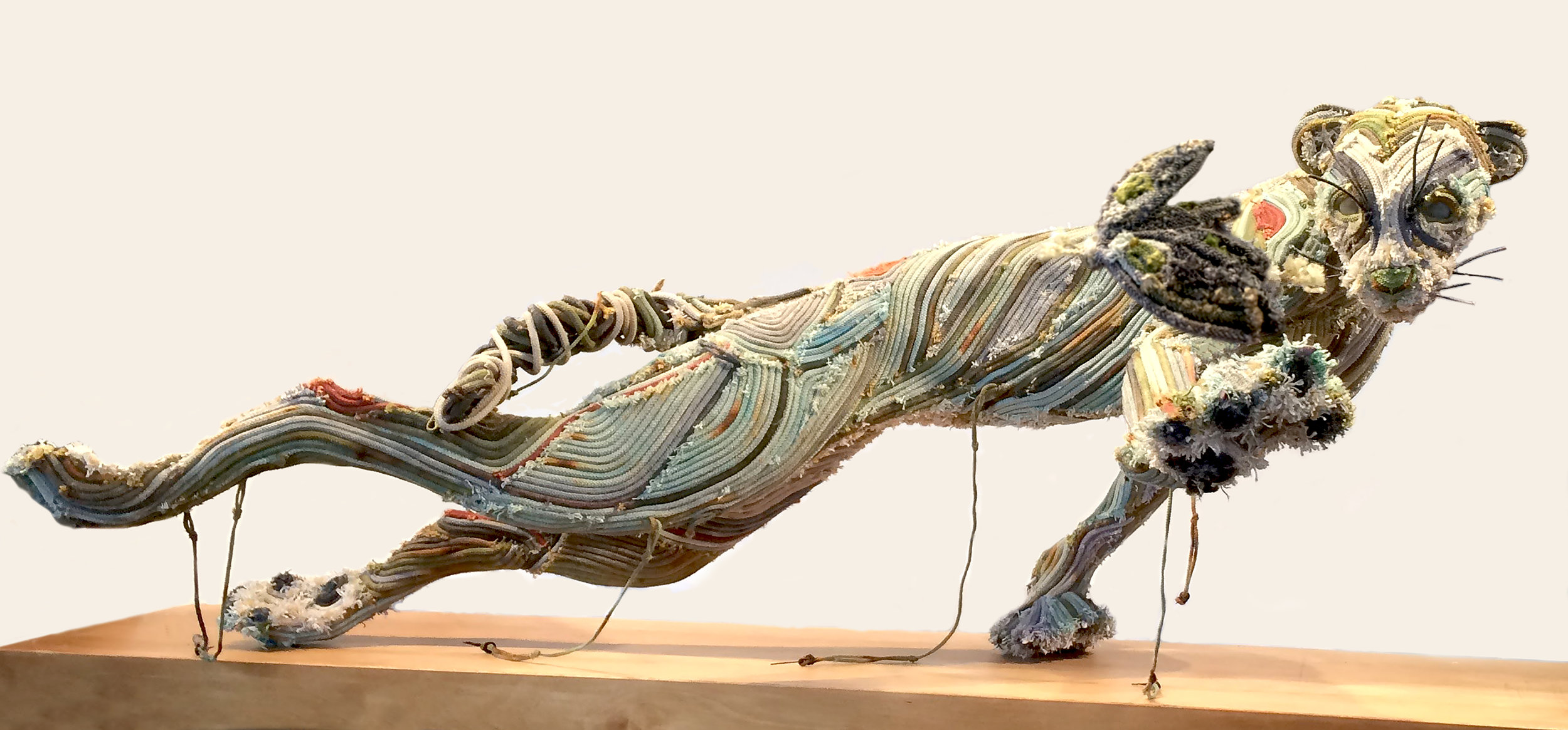 """Gin Stone,  Spar Grounds Cat , dyed reclaimed longline fishing gear, stone, quahog shell and plastic, 47"""" x 29"""" x 20"""""""