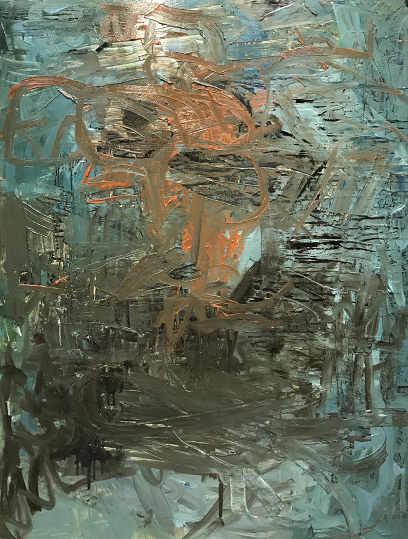 "Leslie Zelamsky,  Agua Azul , mixed-media painting, 40"" x 30"""