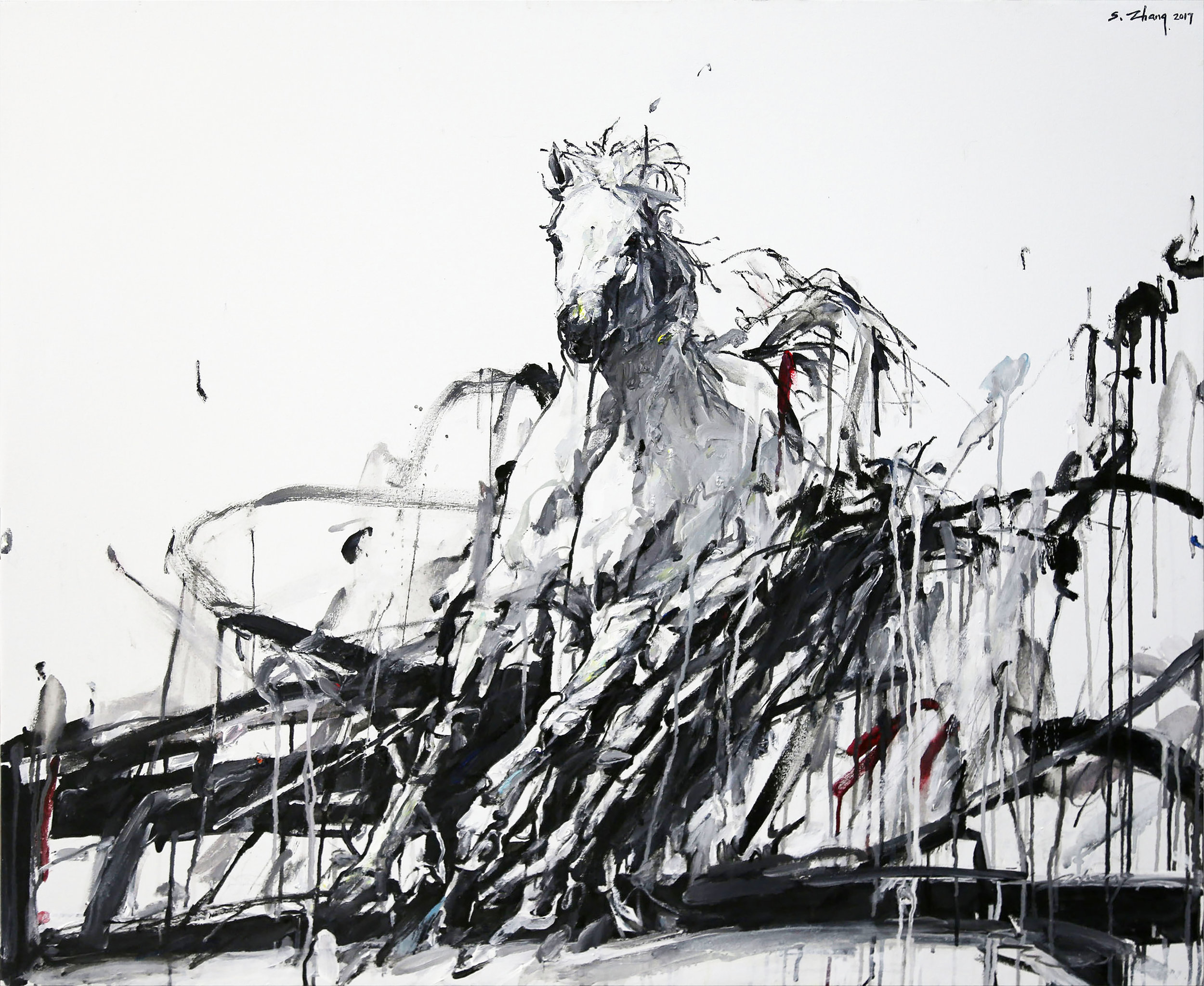 """Shao Yuan Zhang,  Wind Horse, oil and acrylic on canvas, 38"""" x 46"""""""
