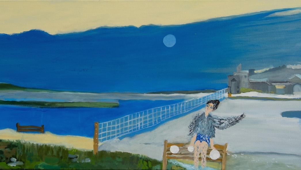 "Alexandra Rozenman,  Waiting for Isaac Levitan after School (detail) , oil on canvas, 60"" x 20"""