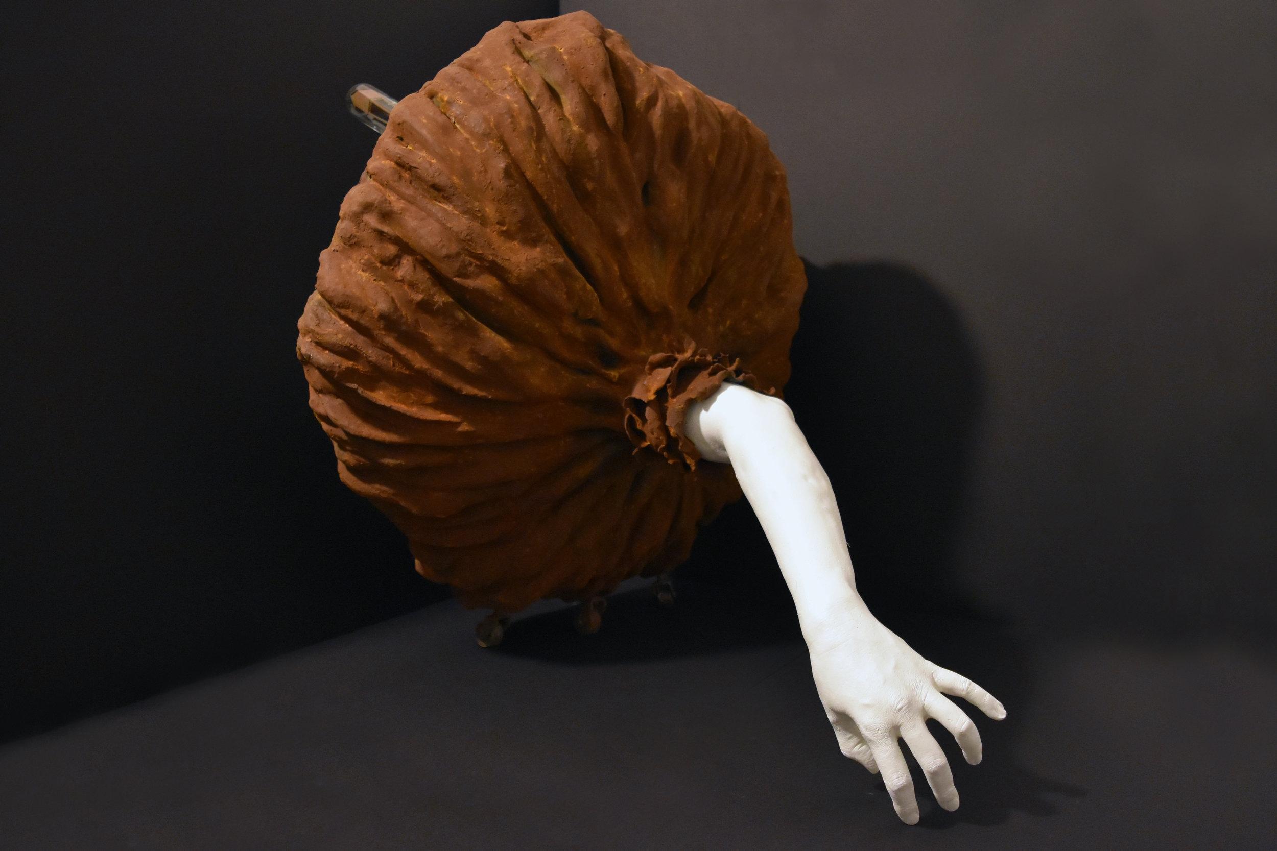 "Tatiana Flis,  Emerald Arm , resin, wood and mixed-media, 34"" x 27"" x 30"""