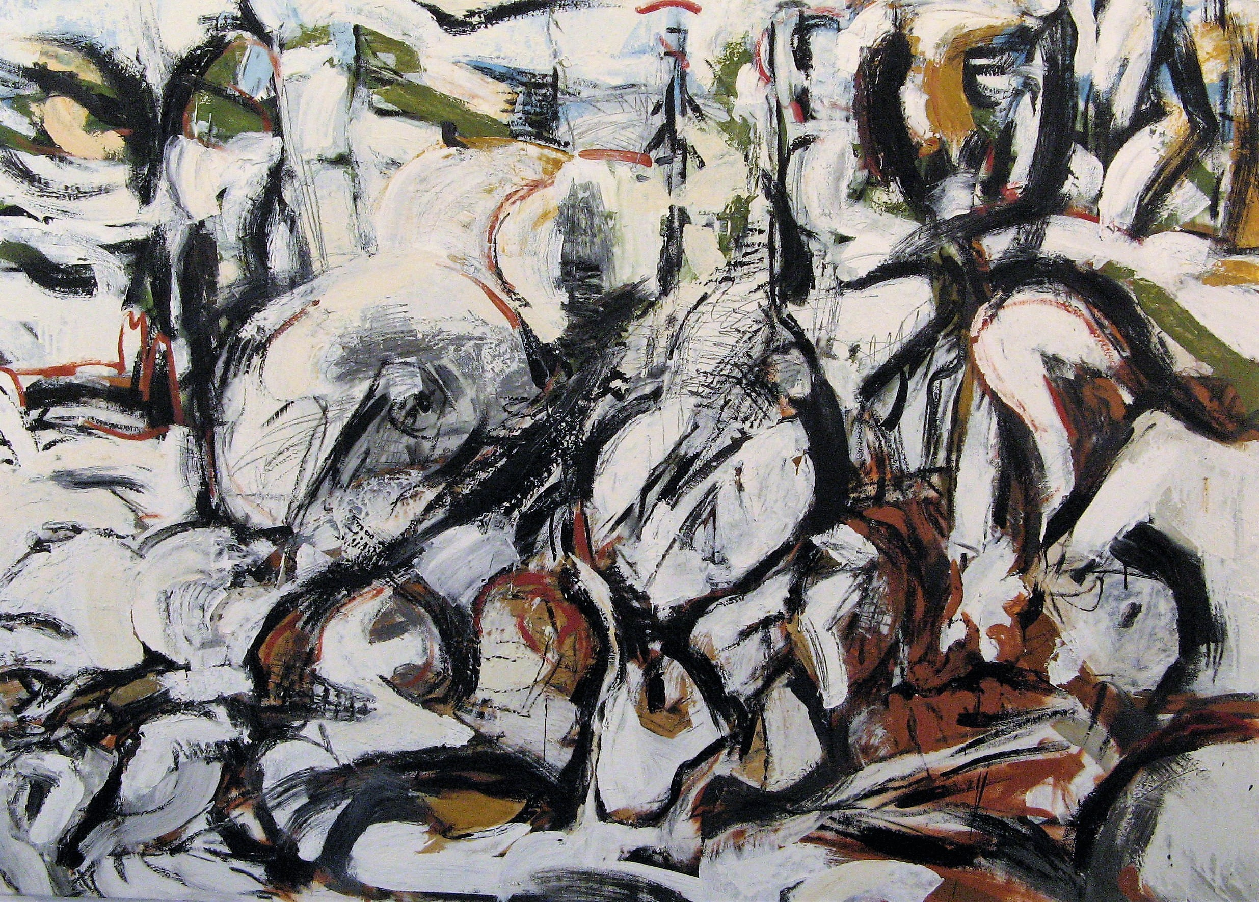 Sticks and Stones 2 , Oil and encaustic on canvas, 36x50