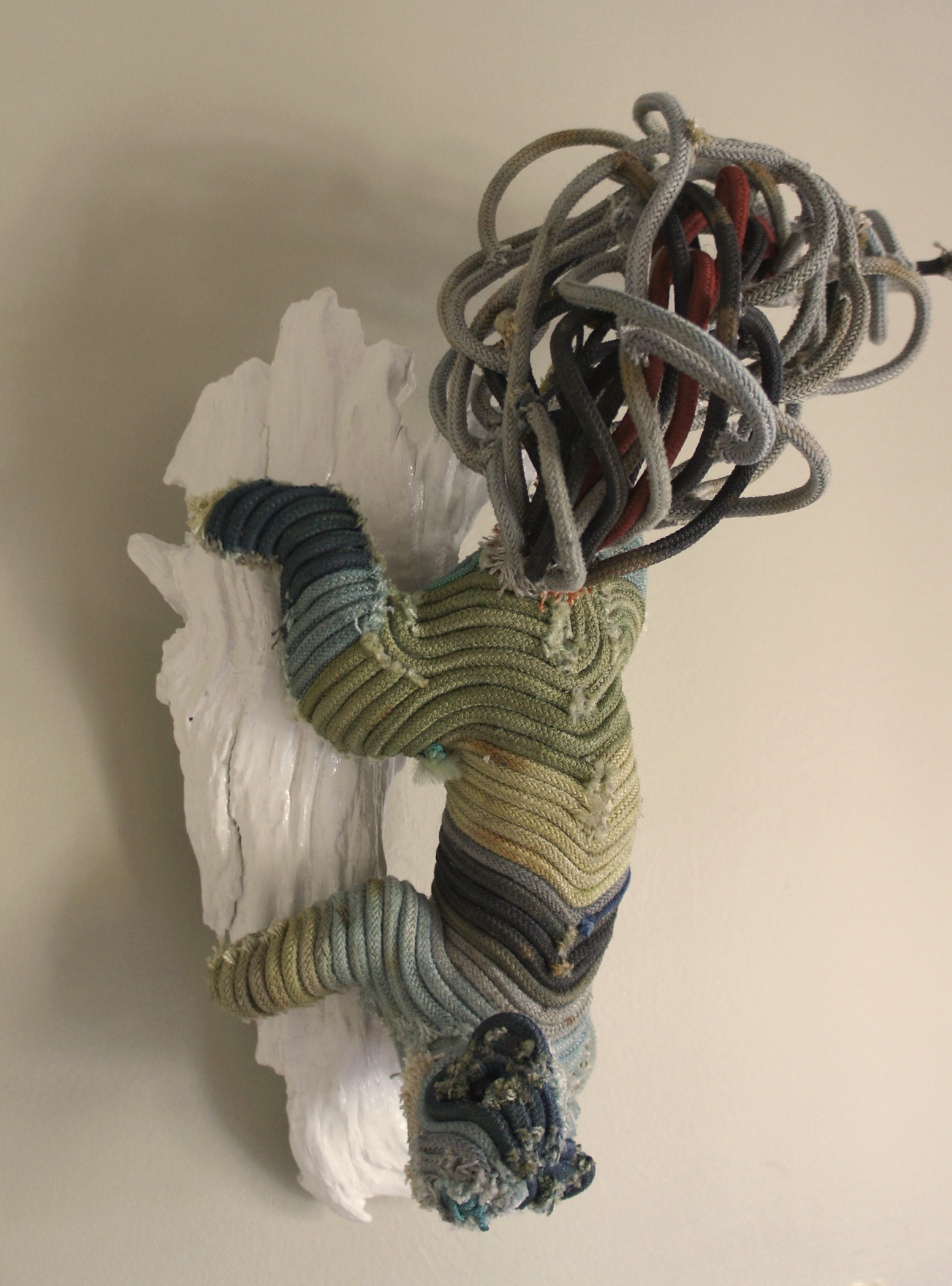 """Gin Stone,  Sea Squirrel , dyed reclaimed longline fishing gear, enamel and plastic, 18"""" x 8"""" x 6"""""""
