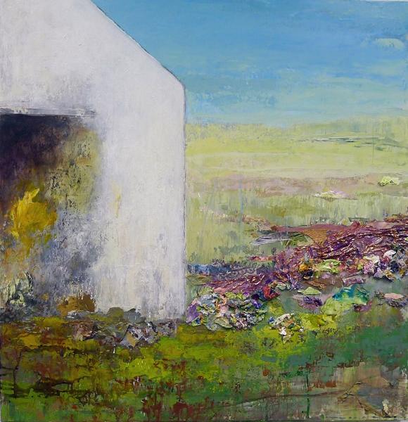 "Barn Series: GROW!, mixed-media painting, 36"" x 36"""