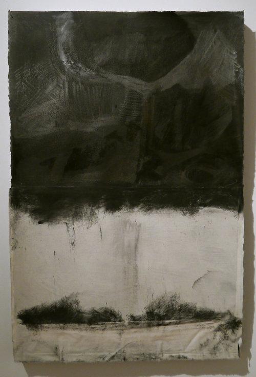 "Kathline Carr, Below , graphite, muslin, acrylic on paper, 34"" x 22.5"""