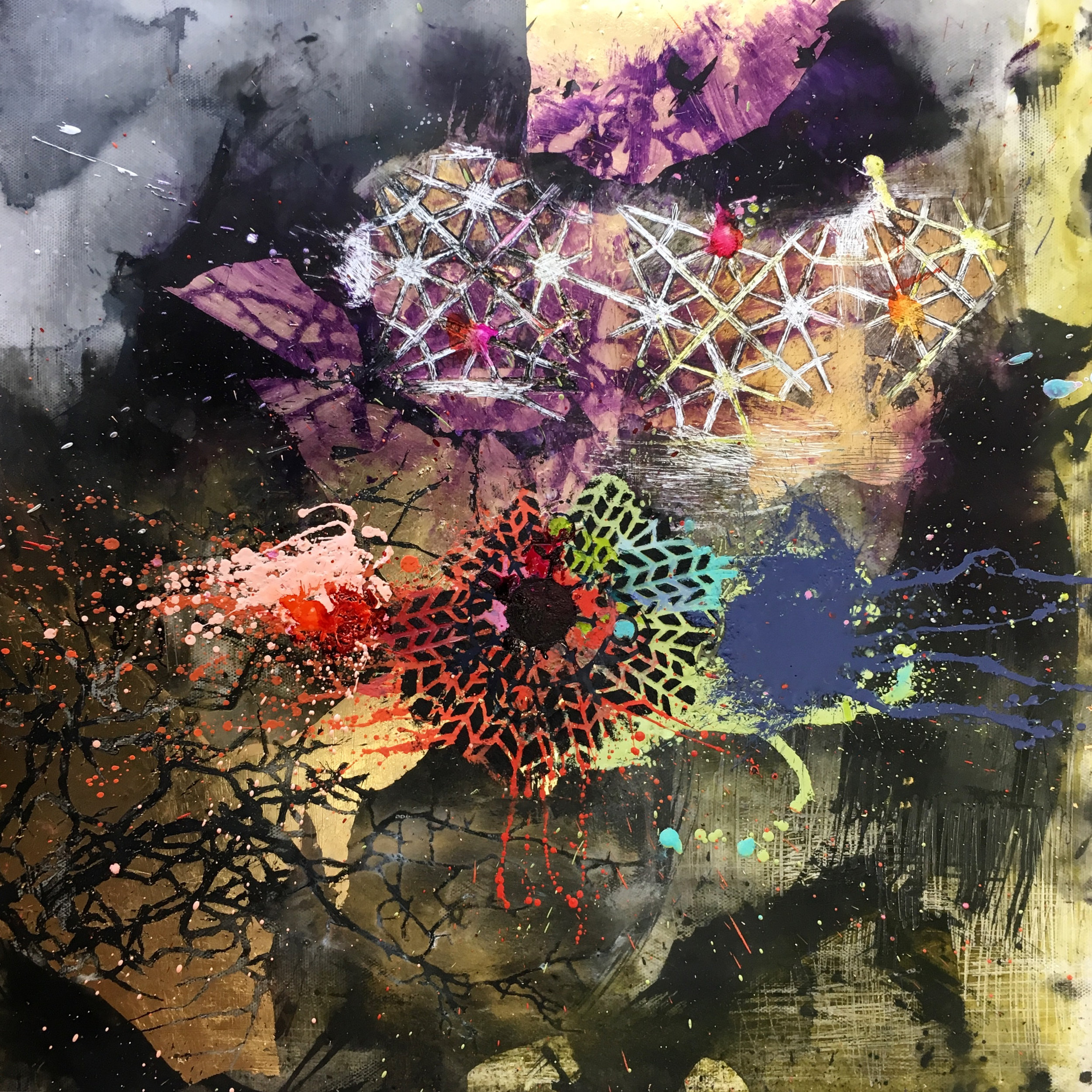 Mary Marley,  Attention Intention,  Encaustic Paint