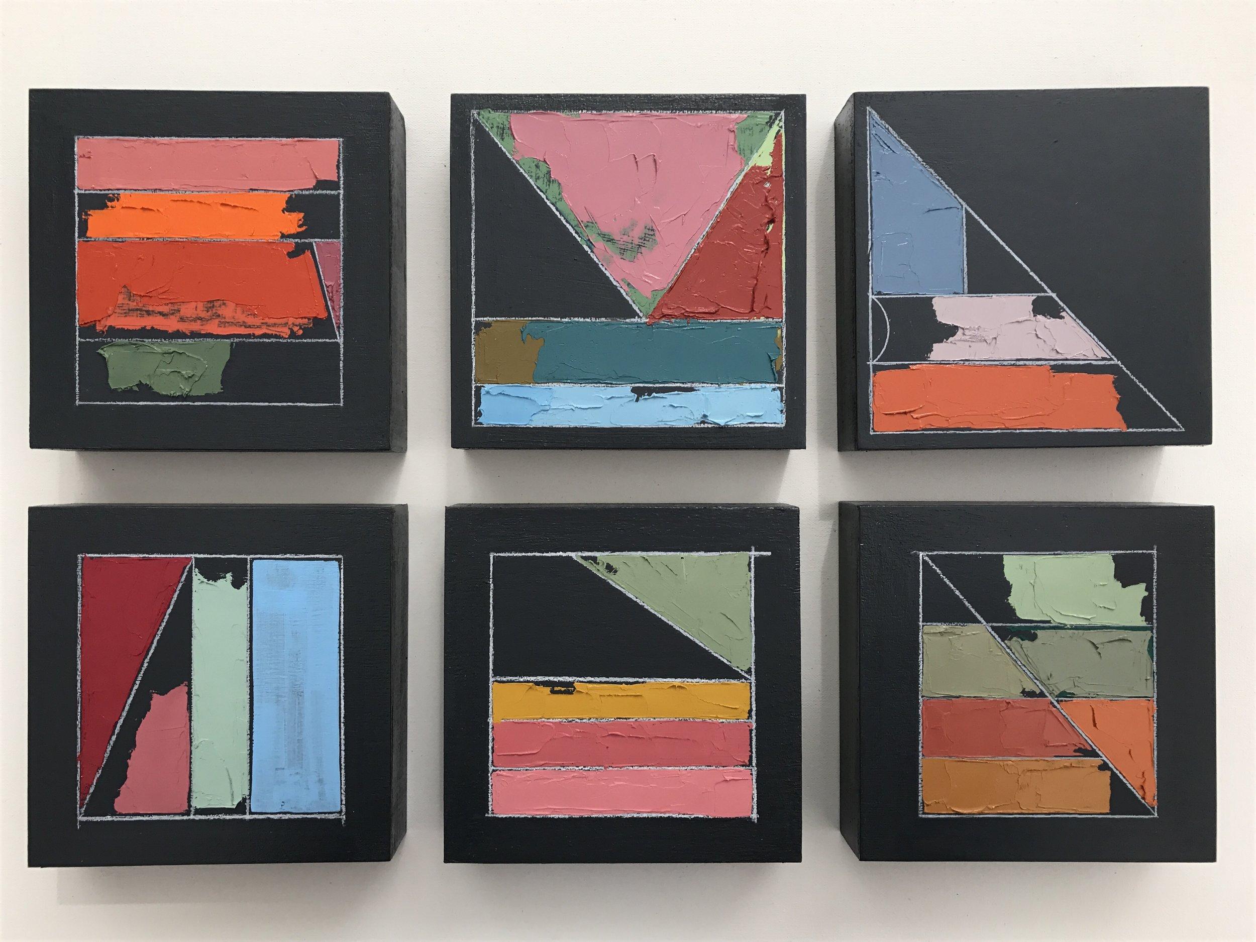 "Mia Cross,  Color Studies 1–6,  Acrylic, oil, colored pencil on canvas, 6""x6"" each"