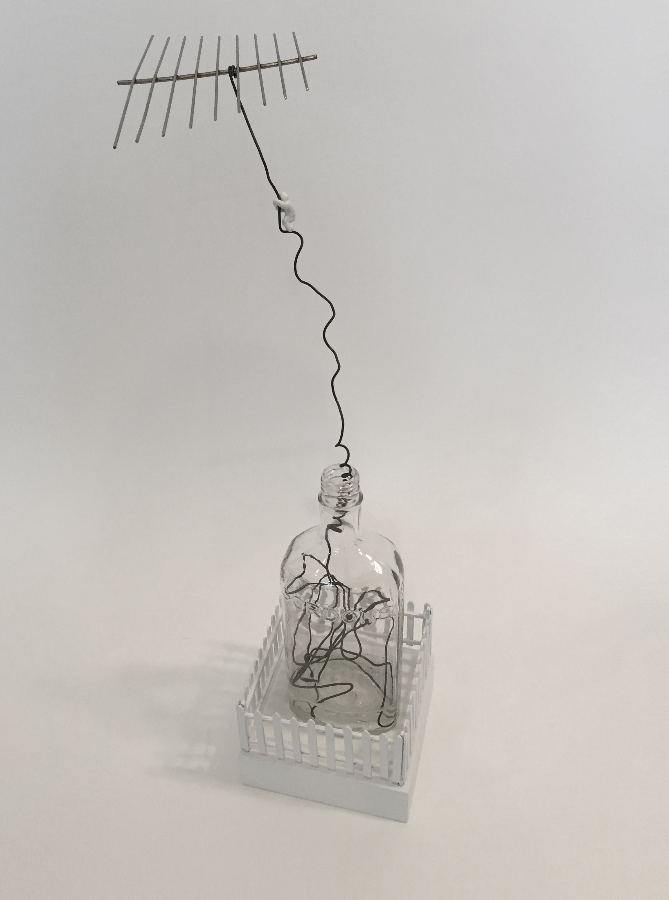 """Doug Cross,  Escape , Glass bottle, wire and wood, 21""""x6"""""""