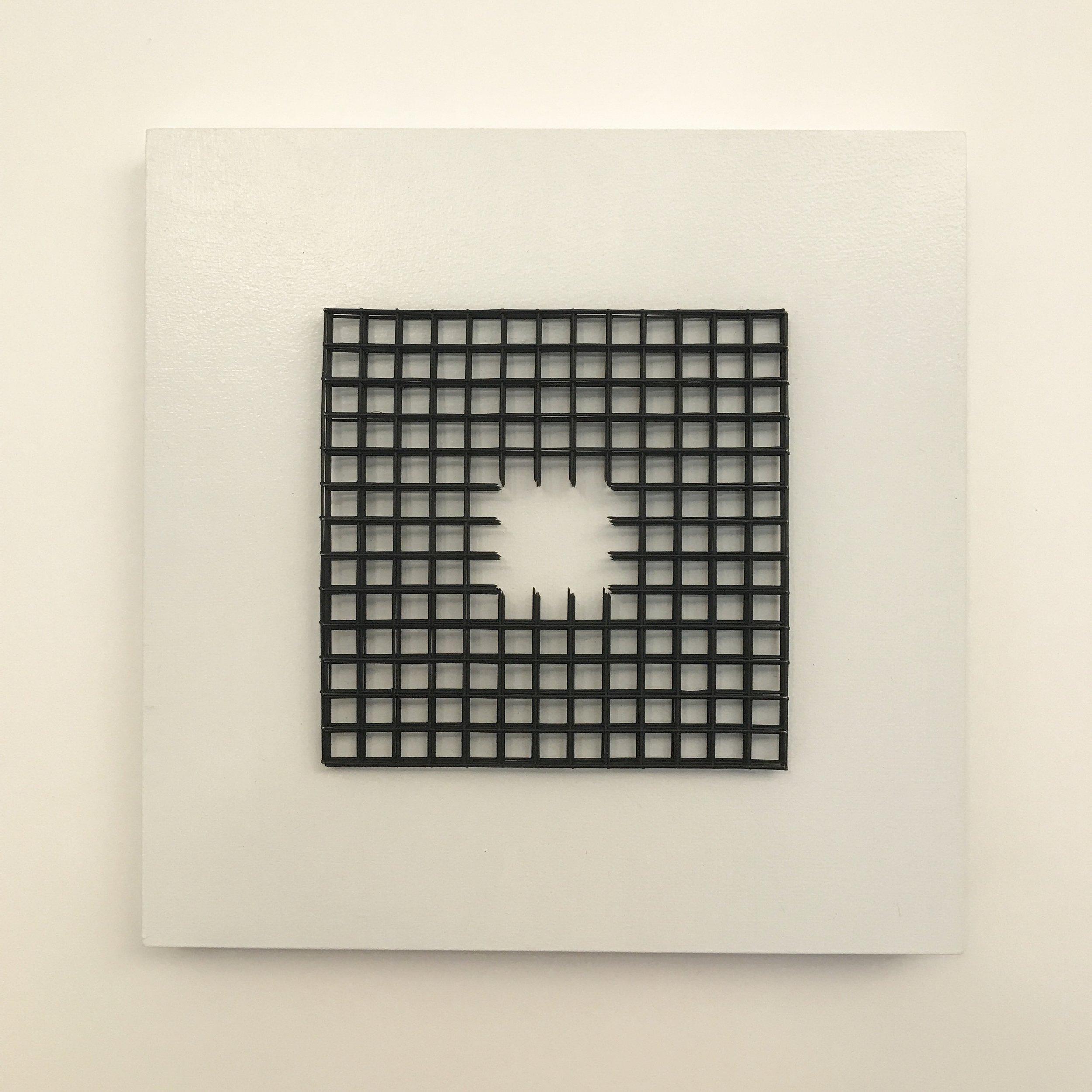 "Doug Cross,  Glow , Wire mesh and wood, 12""x12""x3"""