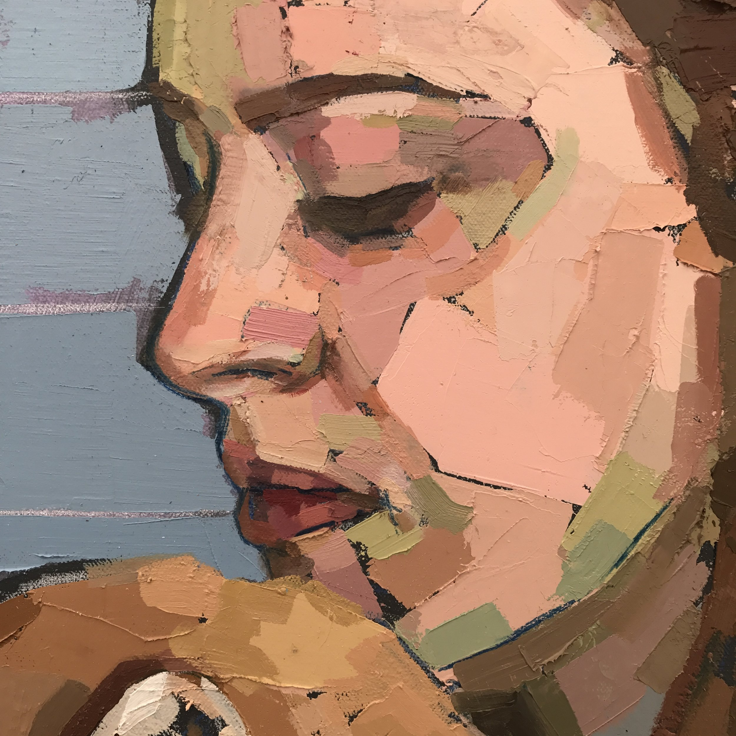 Mia Cross,  Homebody , detail, House paint, oil, colored pencil on canvas, 4'x6.5'
