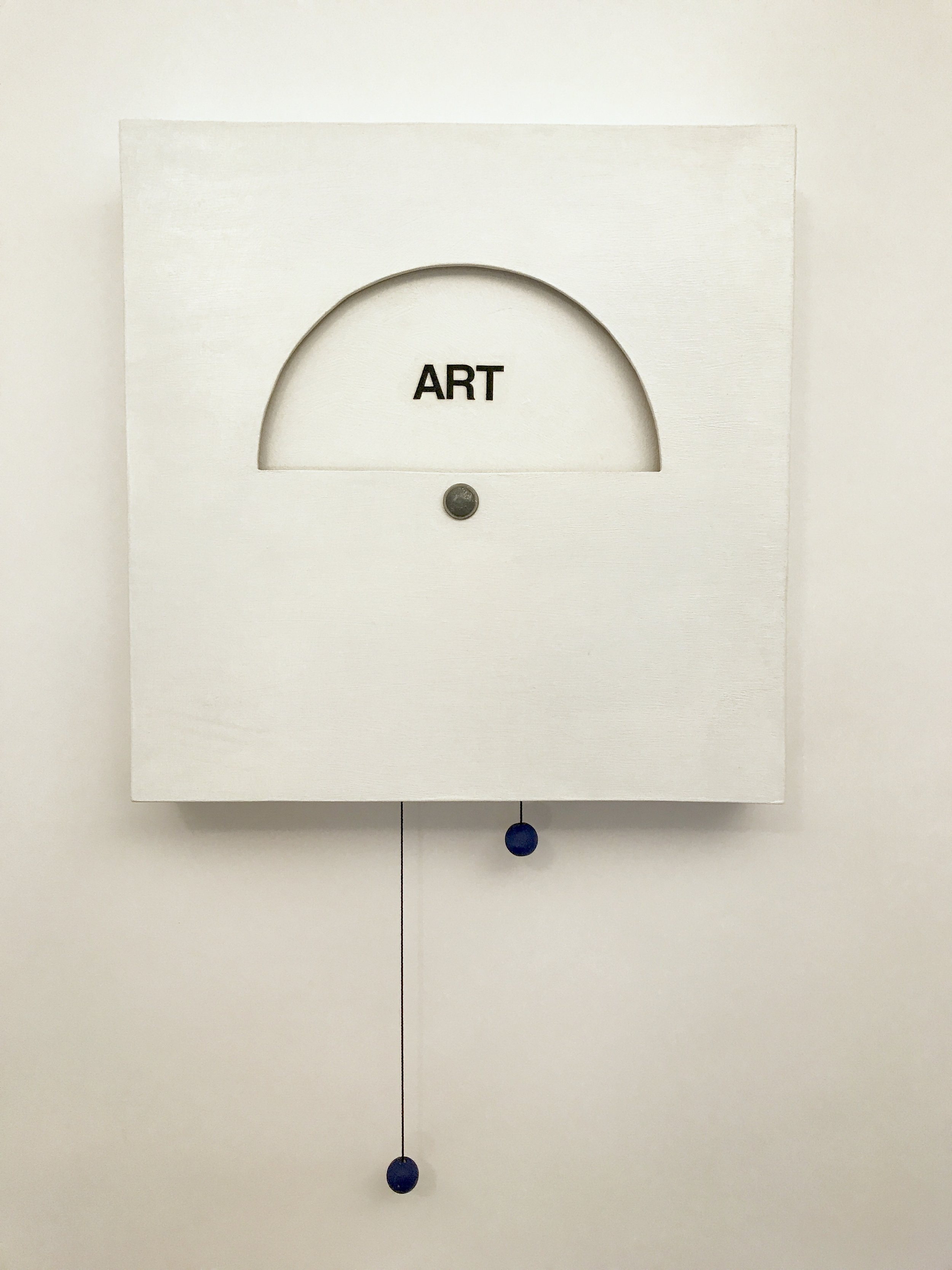 """Doug Cross , Inevitable Question,  detail ,  interactive box: wood and paint, 19""""x19""""x3"""""""