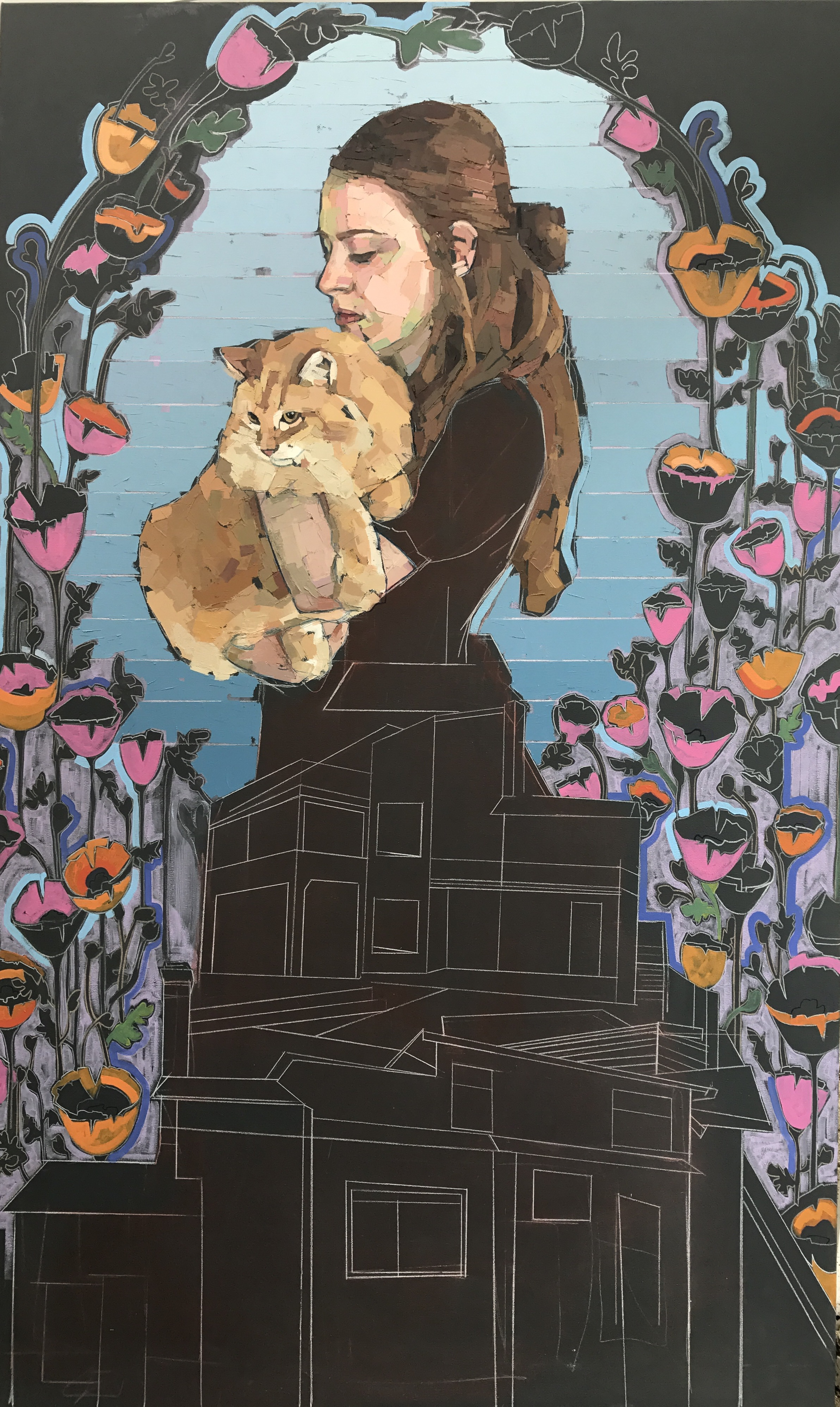 Mia Cross,  Homebody , House paint, oil, colored pencil on canvas, 4'x6.5'