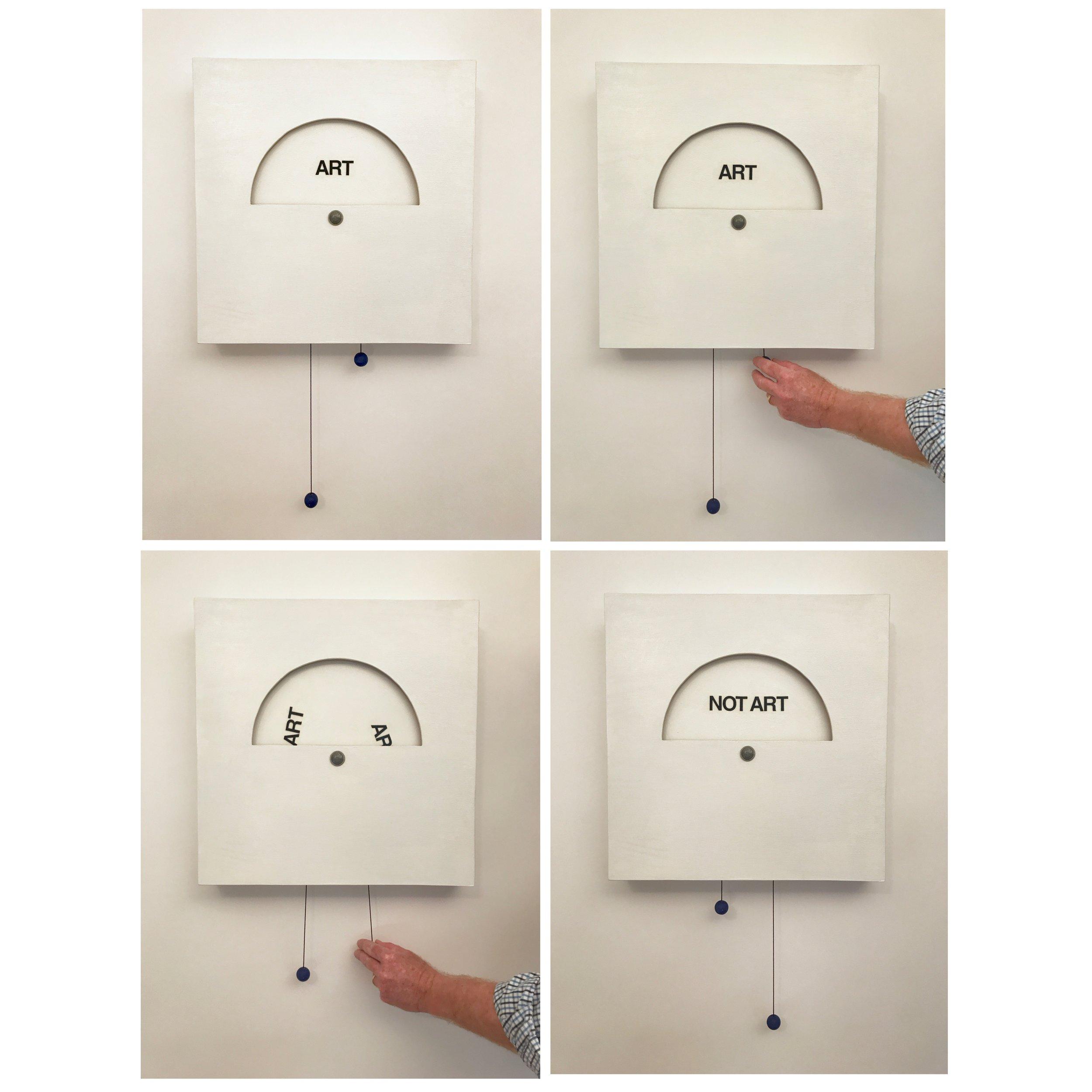 "Doug Cross , Inevitable Question , Interactive box: wood and paint, 19""x19""x3"""