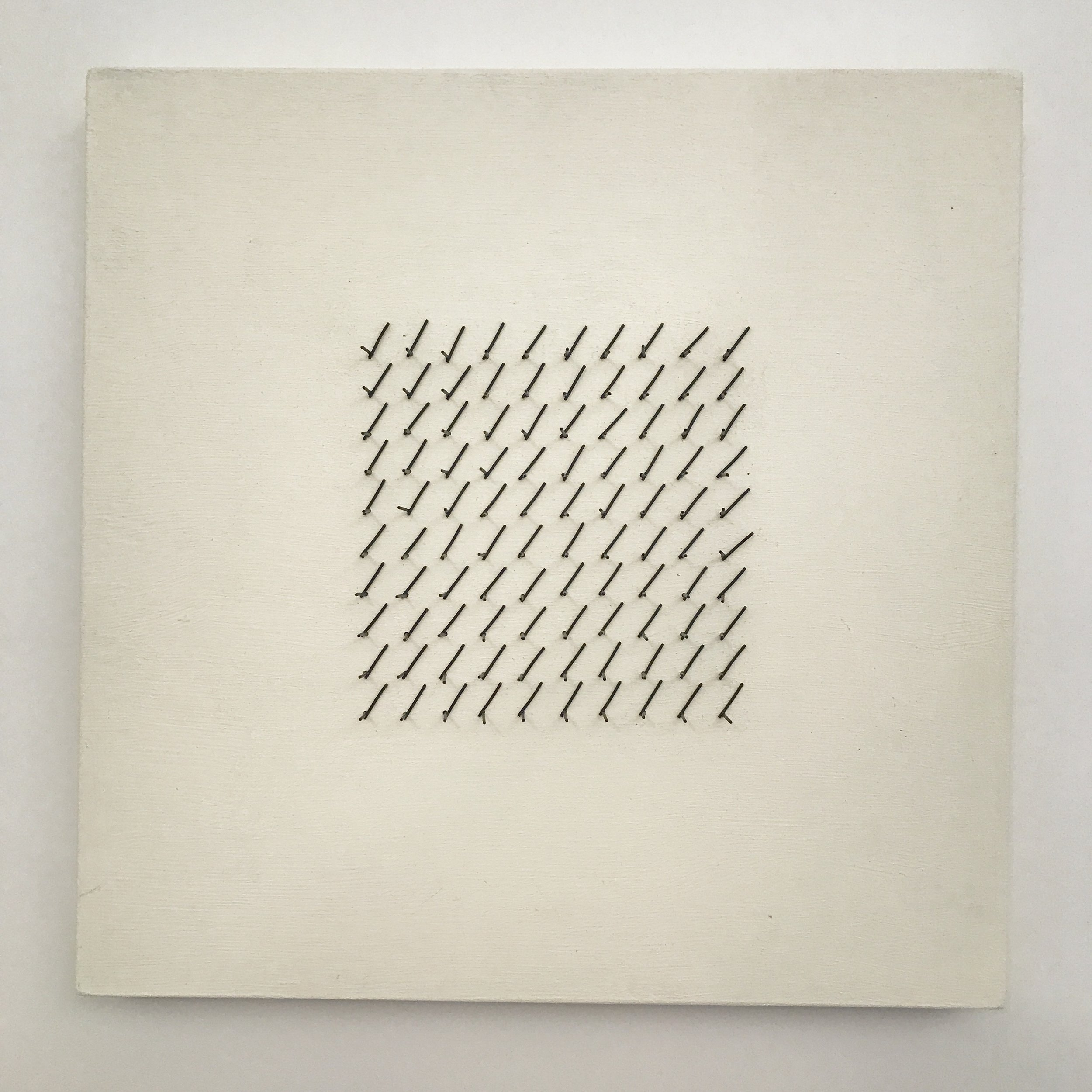 "Doug Cross,  Meditation Square #1 , Wire mesh and wood, 12""x12""x3"""