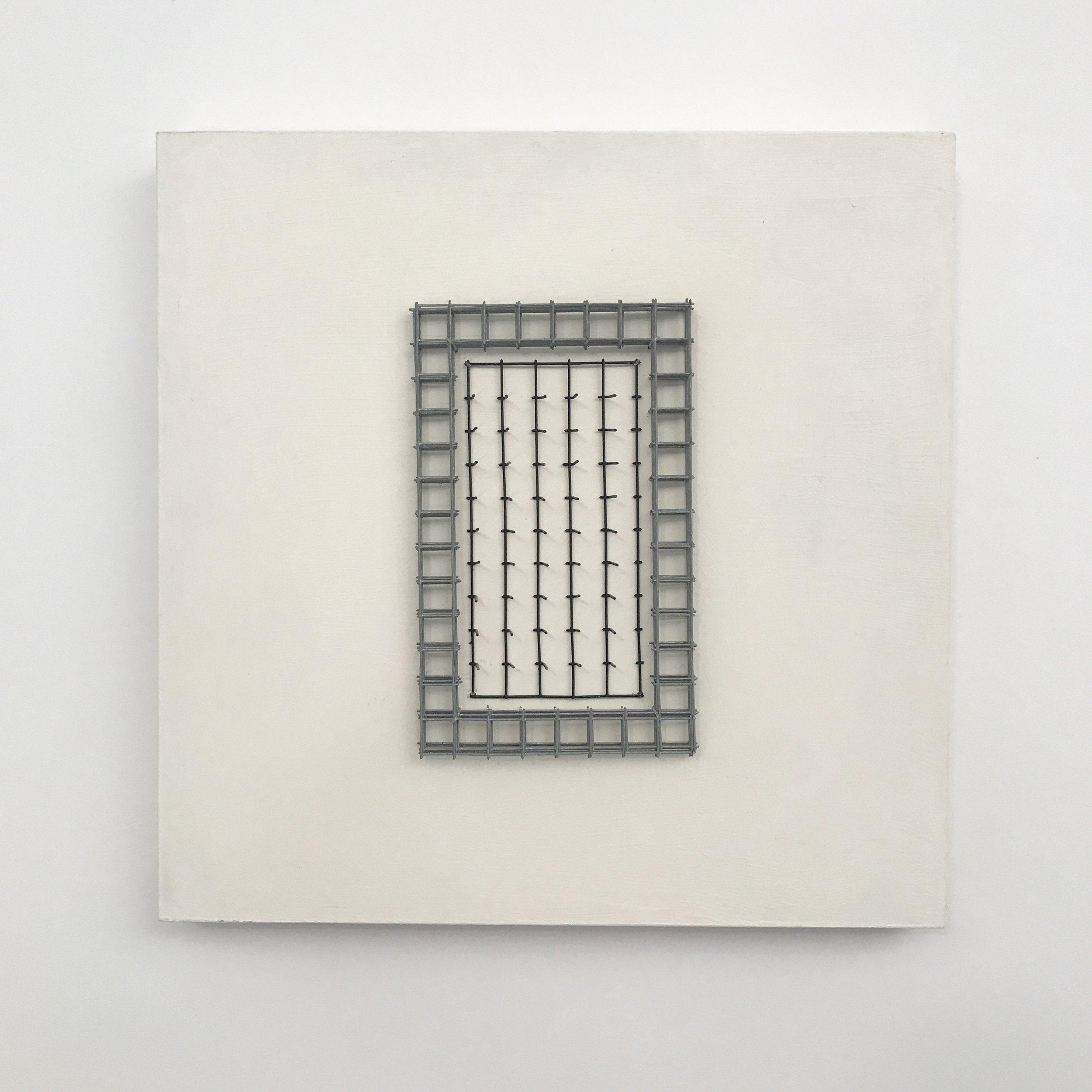 "Doug Cross,  Meditation Square #3 , Wire mesh and wood, 12""x12""x3"""