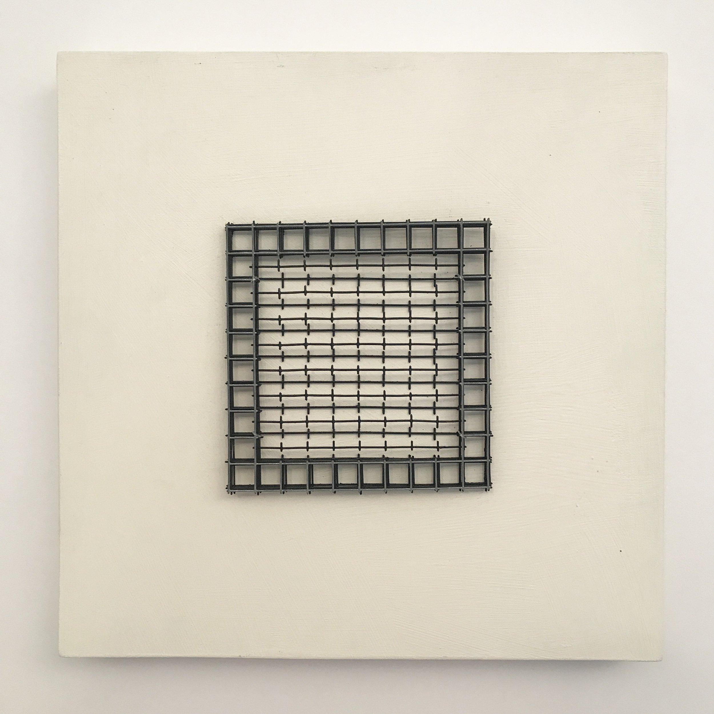 "Doug Cross,  Meditation Square #4,  Wire mesh and wood, 12""x12""x3"""