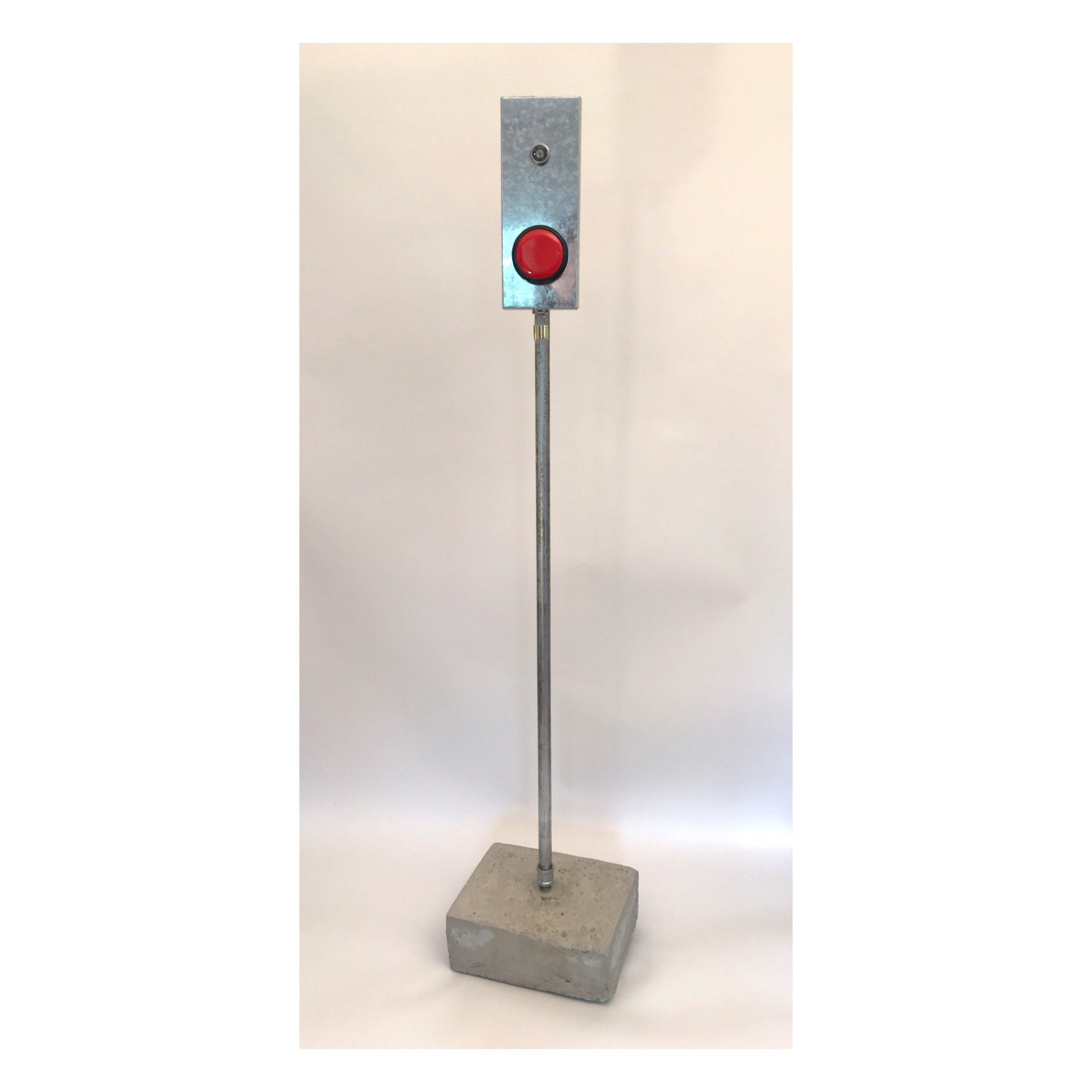"Doug Cross,  Push , Metal box with push button, mounted on pole, 6'x6"""