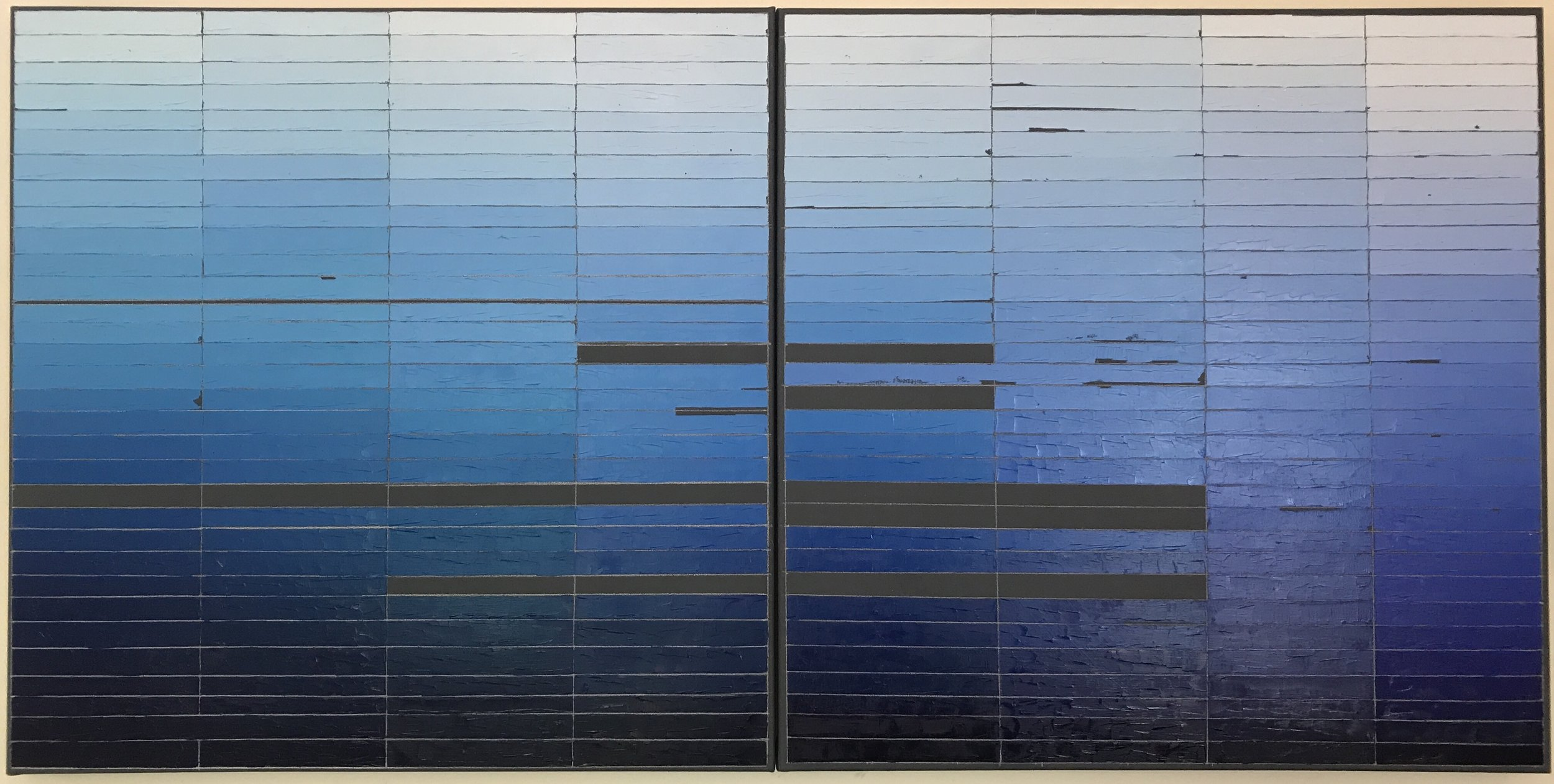 Mia Cross,  The Color Blues I Would Miss Most if I Went Blind, Part 2 , House paint, oil, colored pencil on canvas, 3'x6'