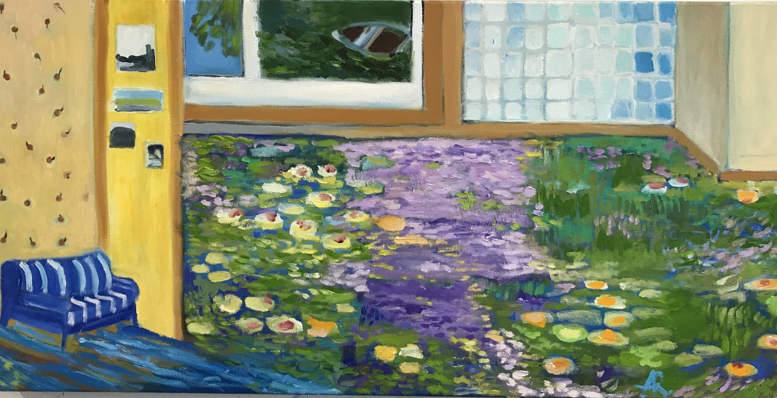 """Flood In Giverny  , Oil on canvas, 20"""" x 40"""", 2018"""
