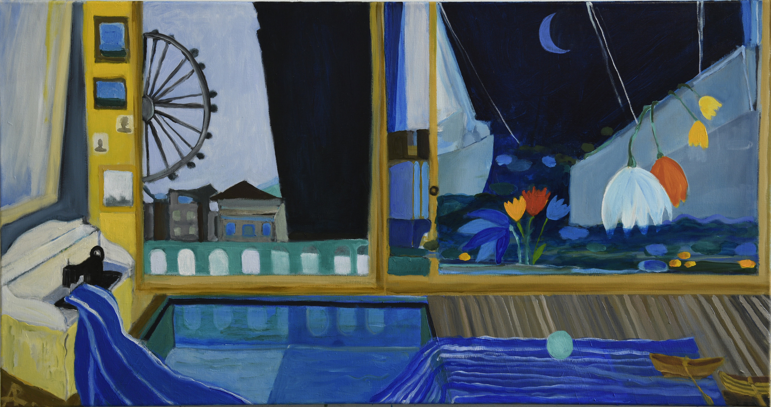 """Window Of Captain's Wife And Her Two Sons  , 24"""" x 48"""", 2018"""
