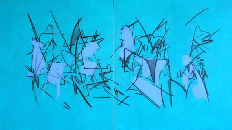 Pat Paxson,  Singing In The Undergrowth - AZ , 2009, acrylic on canvas, 48 x 84 (diptych)   Singing In The Undergrowth - AZ:  A collection of figures connected within a maze of lines–the blue color sings out, the figures are intertwined, loosely evoked and enclosed within the 'song'.
