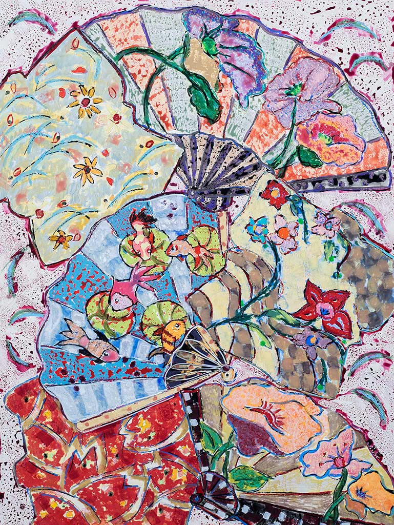 Nan Hass Feldman,  Fantasia with Fish and Fans , 24 x 18