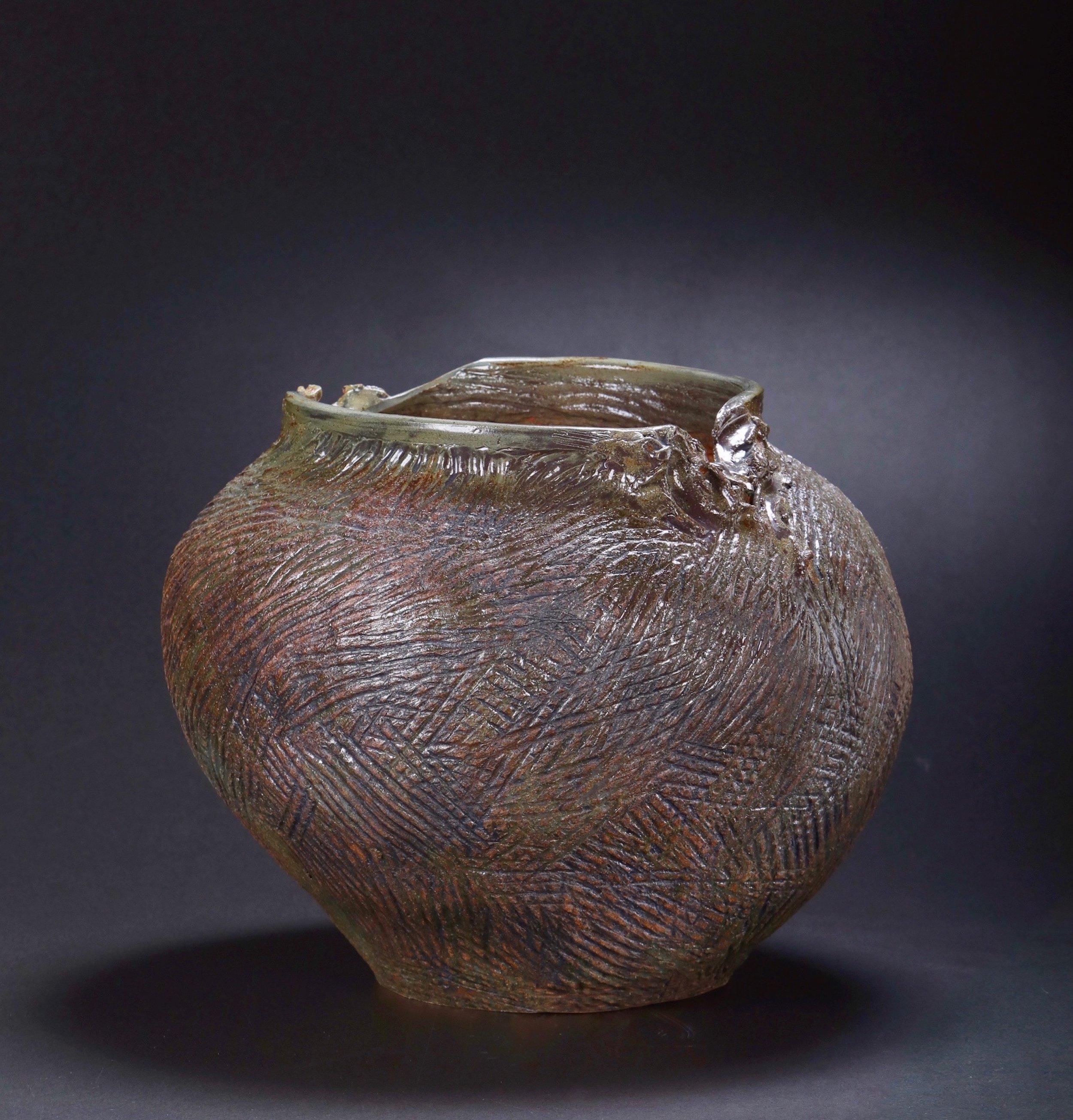Mimi Howard,  Metallic Globe #6 , glazed stoneware, 20x17x15