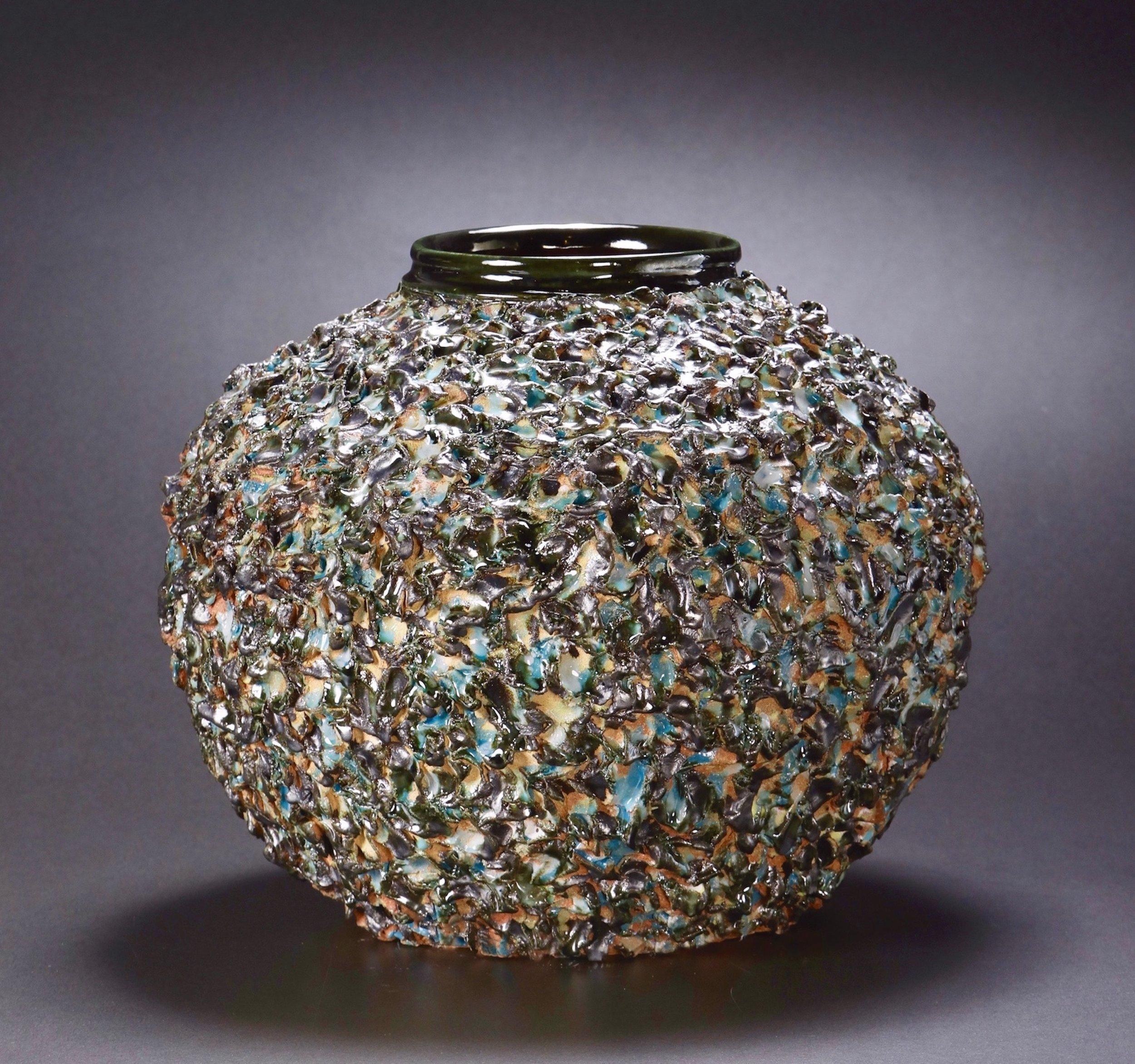 Mimi Howard,  Textured Globe #5 , glazed stoneware, 22x17x15