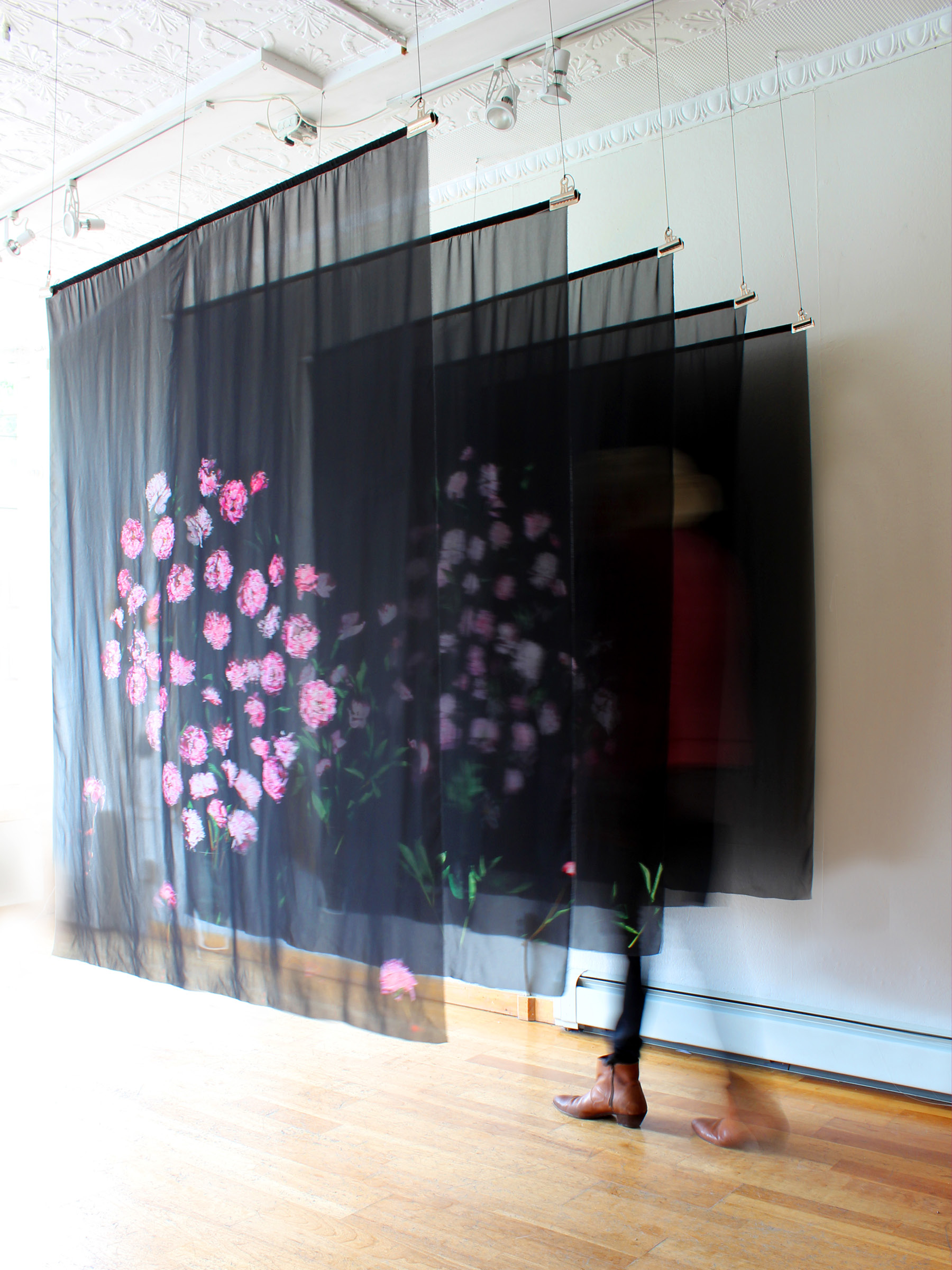 "Tiger Lilies are More Fitting (installation view) , collaged scans printed on chiffon, installation 72"" x 54"" x 72"", each Print W 54"" x H 72"""