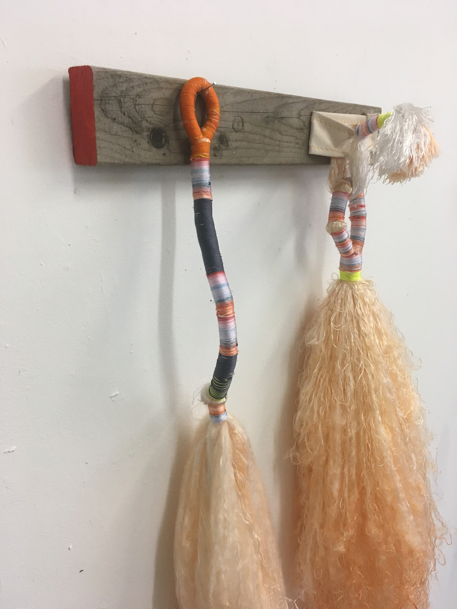 "Sex Brooms, Orange (detail) , bound dyed nylon and canvas fixture, 36"" x 24"" x 6"""